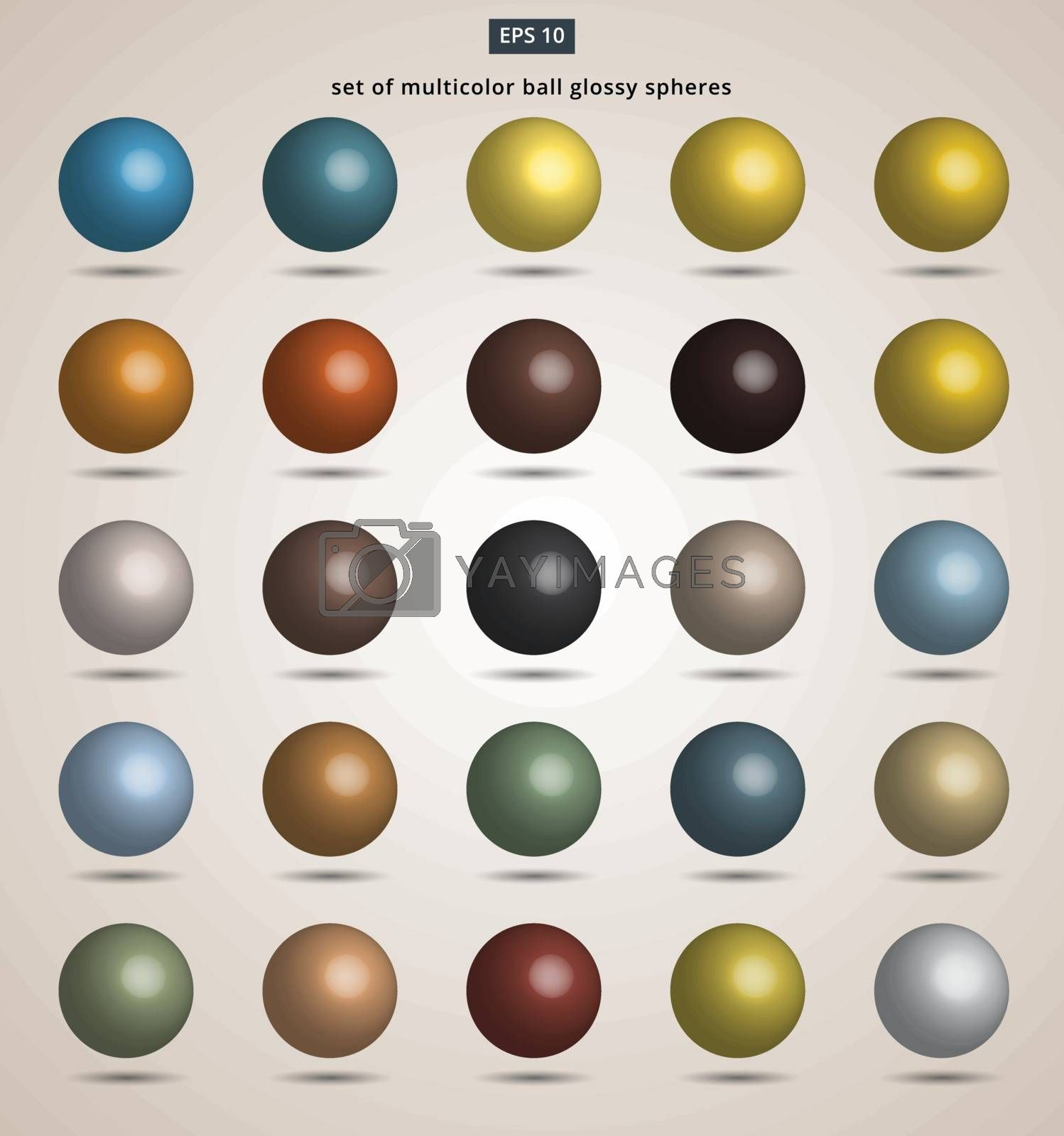 set of multicolor ball glossy spheres Vector illustration for design