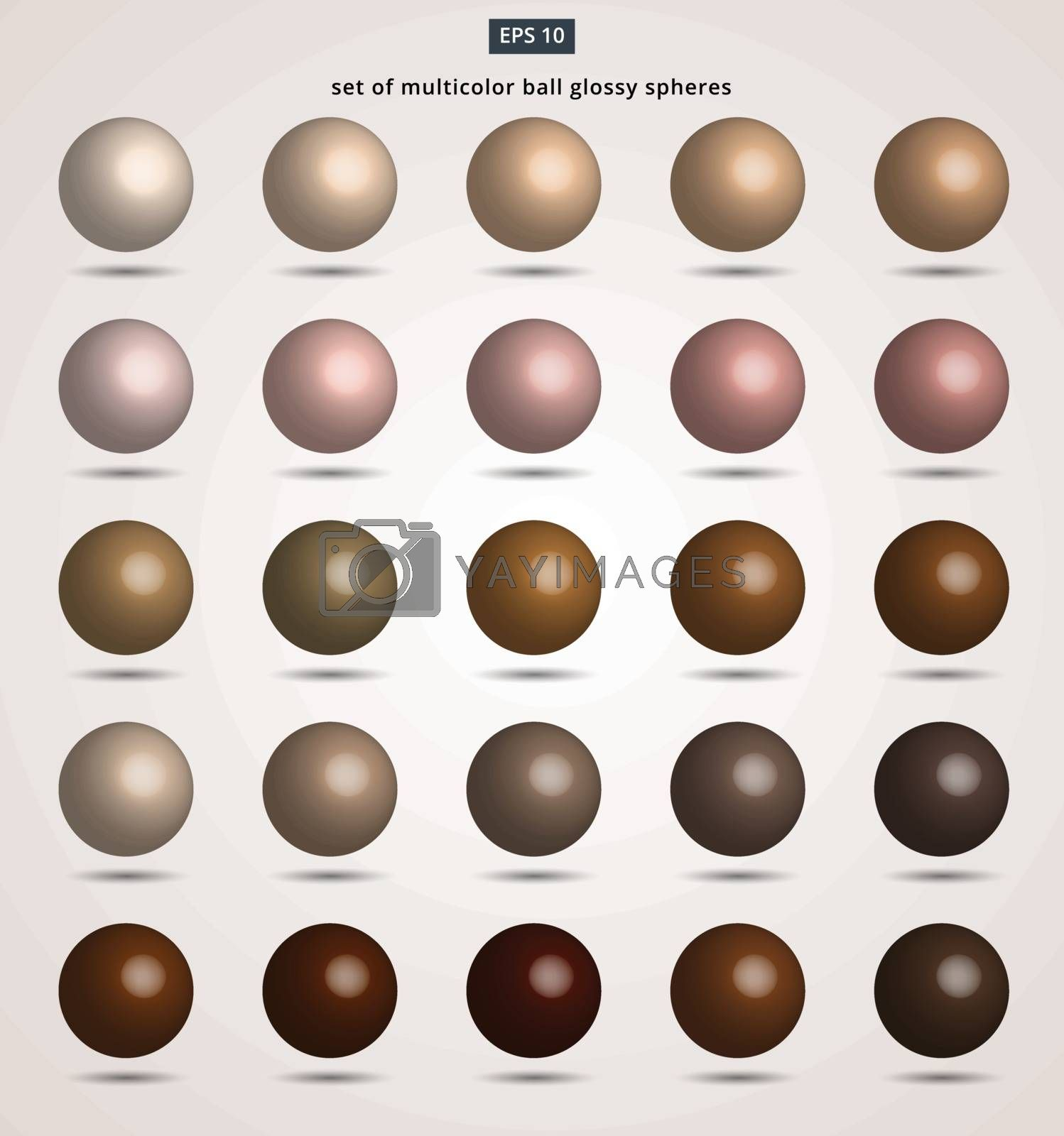 set of brown ball color tone glossy spheres Vector illustration for design