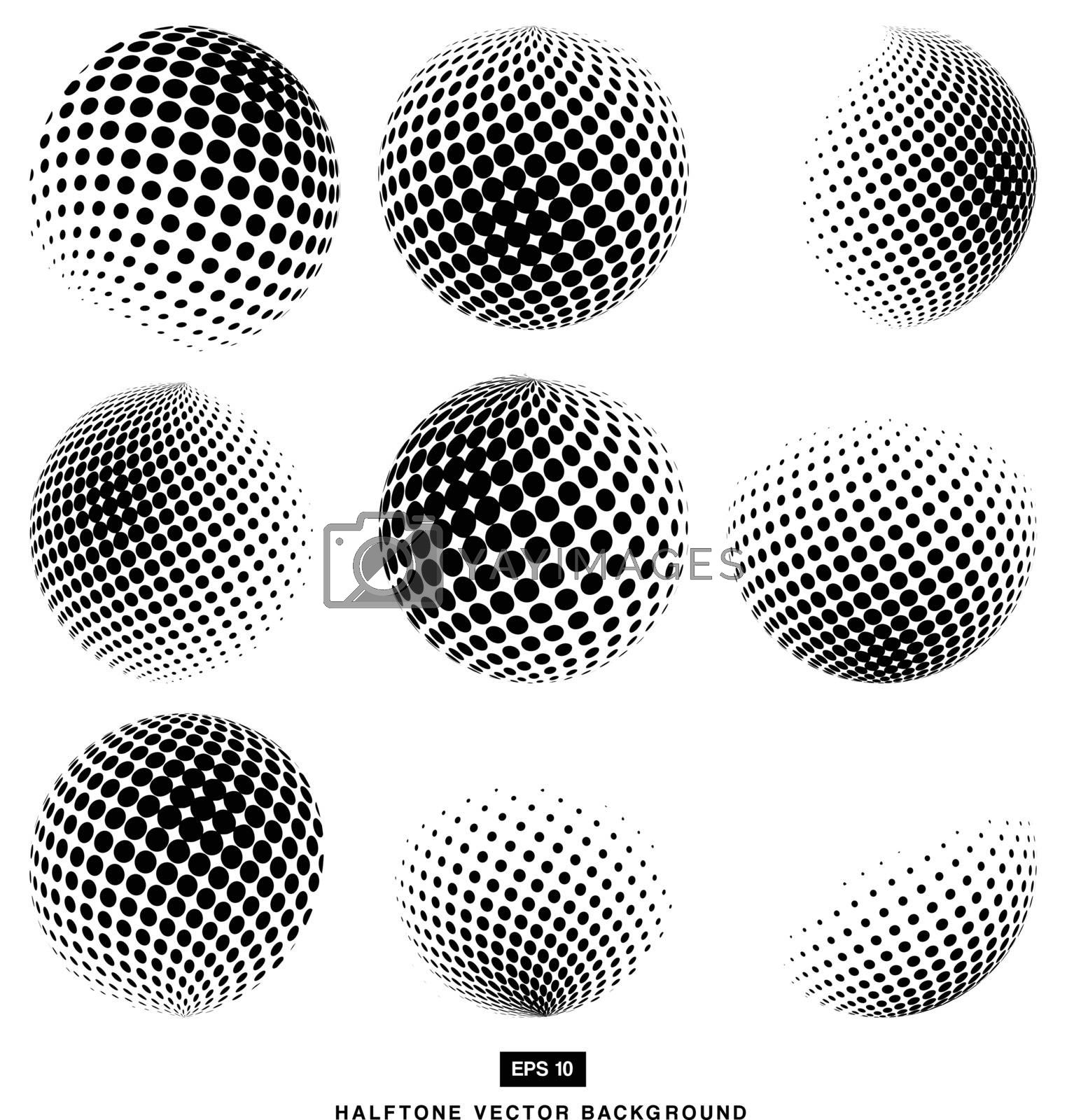 black and white Halftone Vectors Circle set of Isolated Modern Design Element