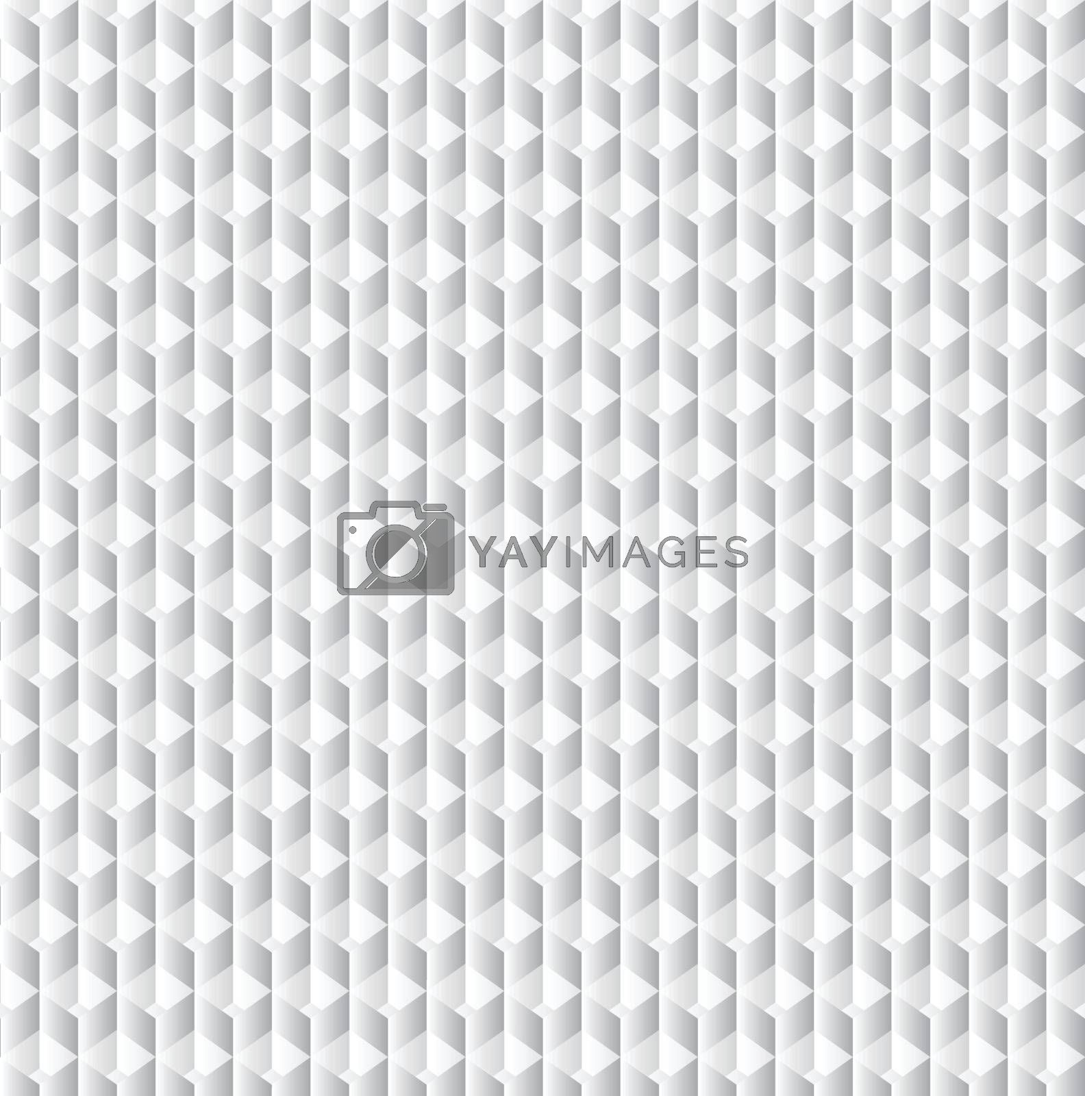 Vector geometric cubes pattern, grey seamless background