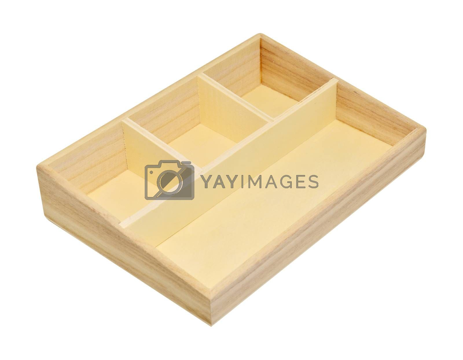 Empty wood shelf box isolated on white background with clipping path