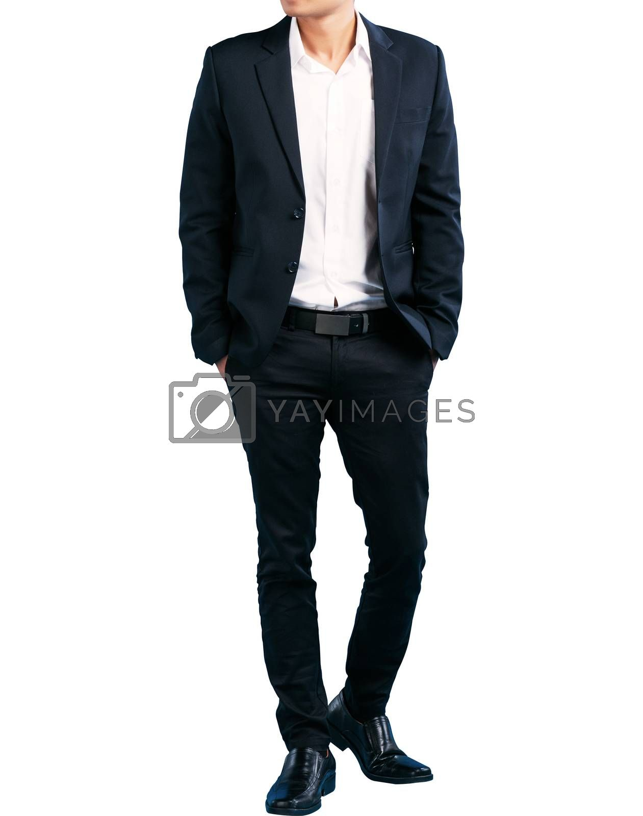 A lot of businessmen in suits Smart handsome isolate on white background clipping path