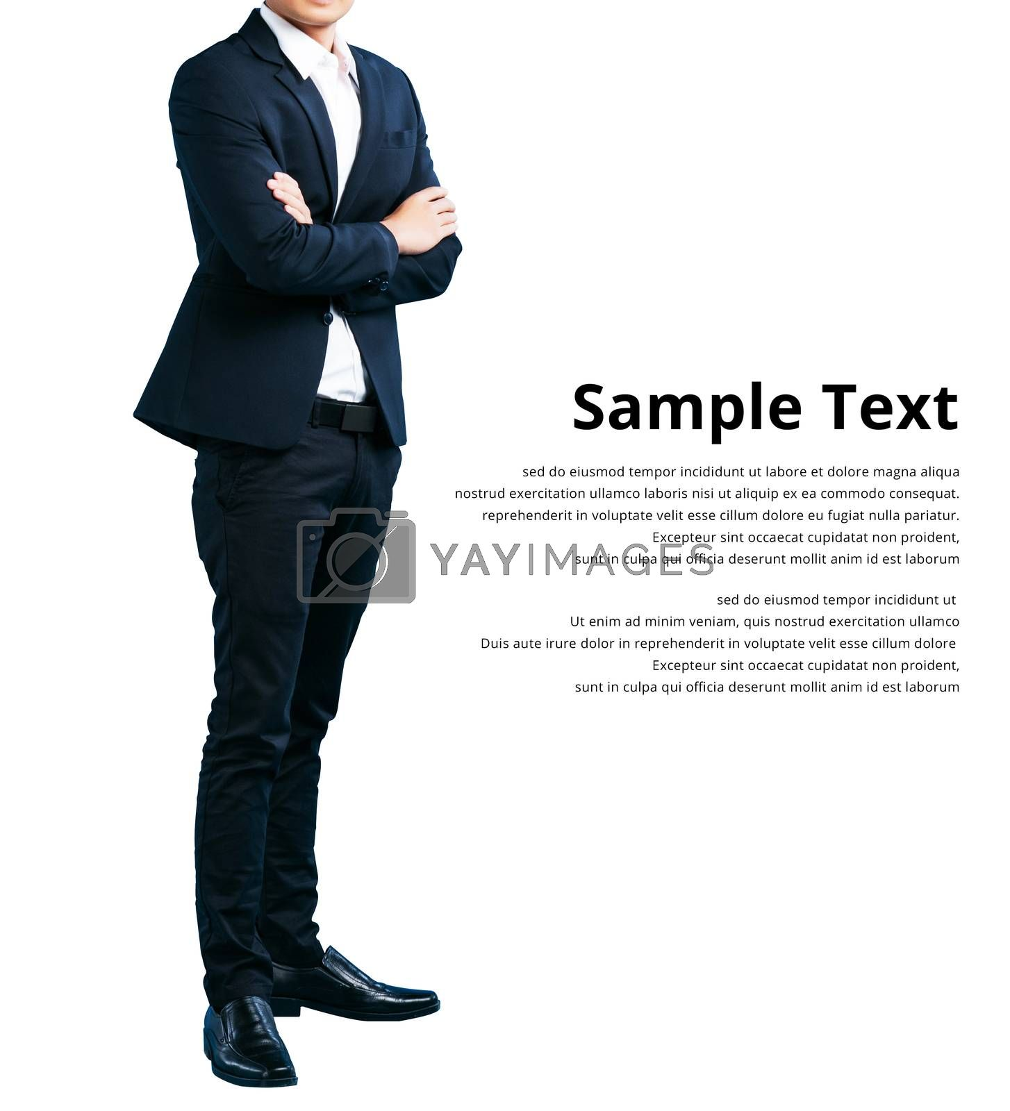 Businessman wearing in a suit cross arm copy space, isolated on white background sample text clipping path