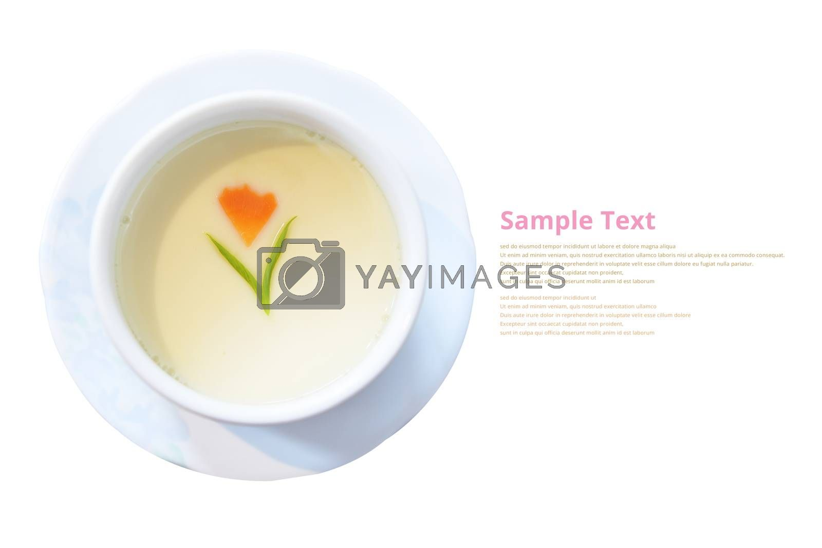 Steamed Egg isolated on white background with sample text