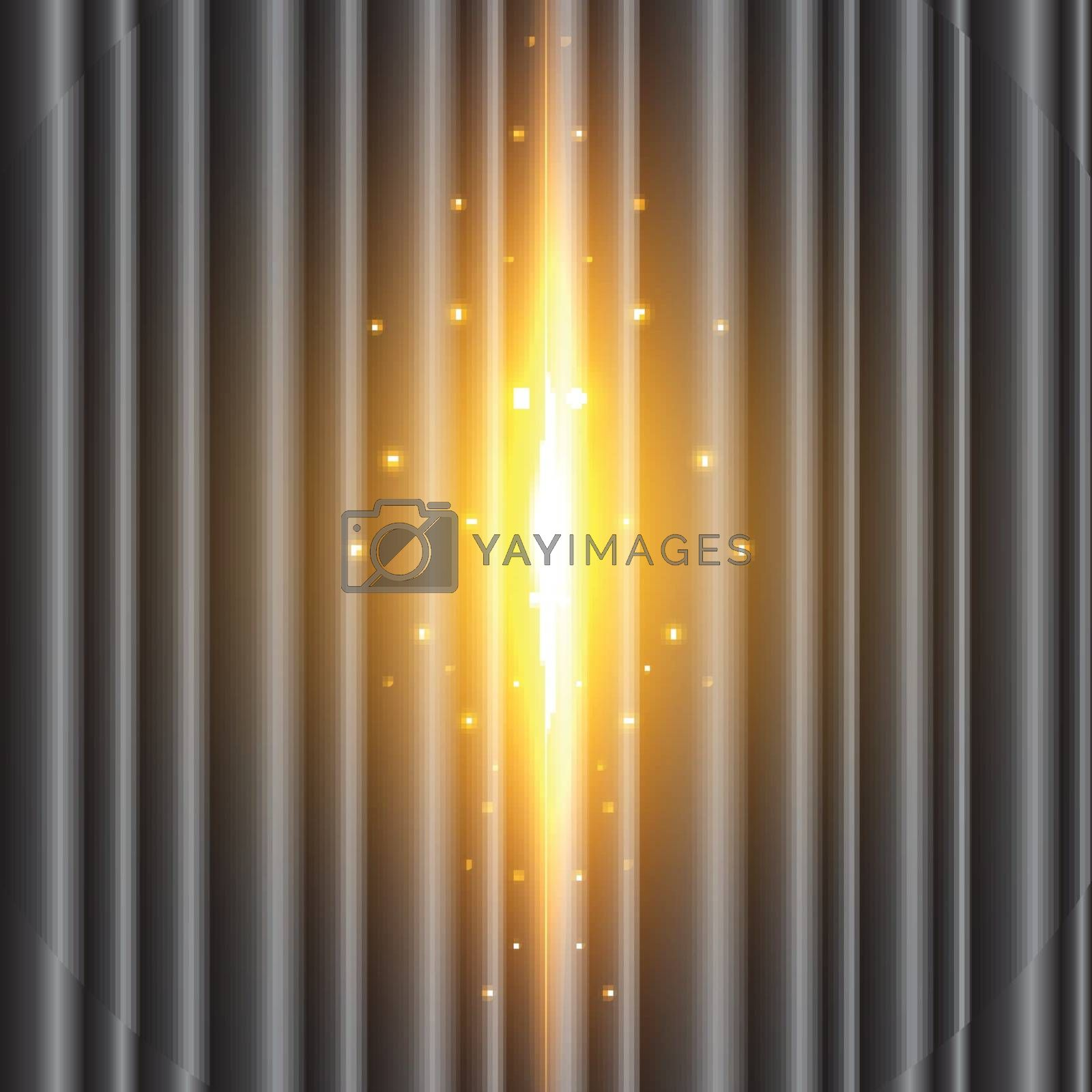 The background image of the black curtain is open with the beam coming out. grand opening vector