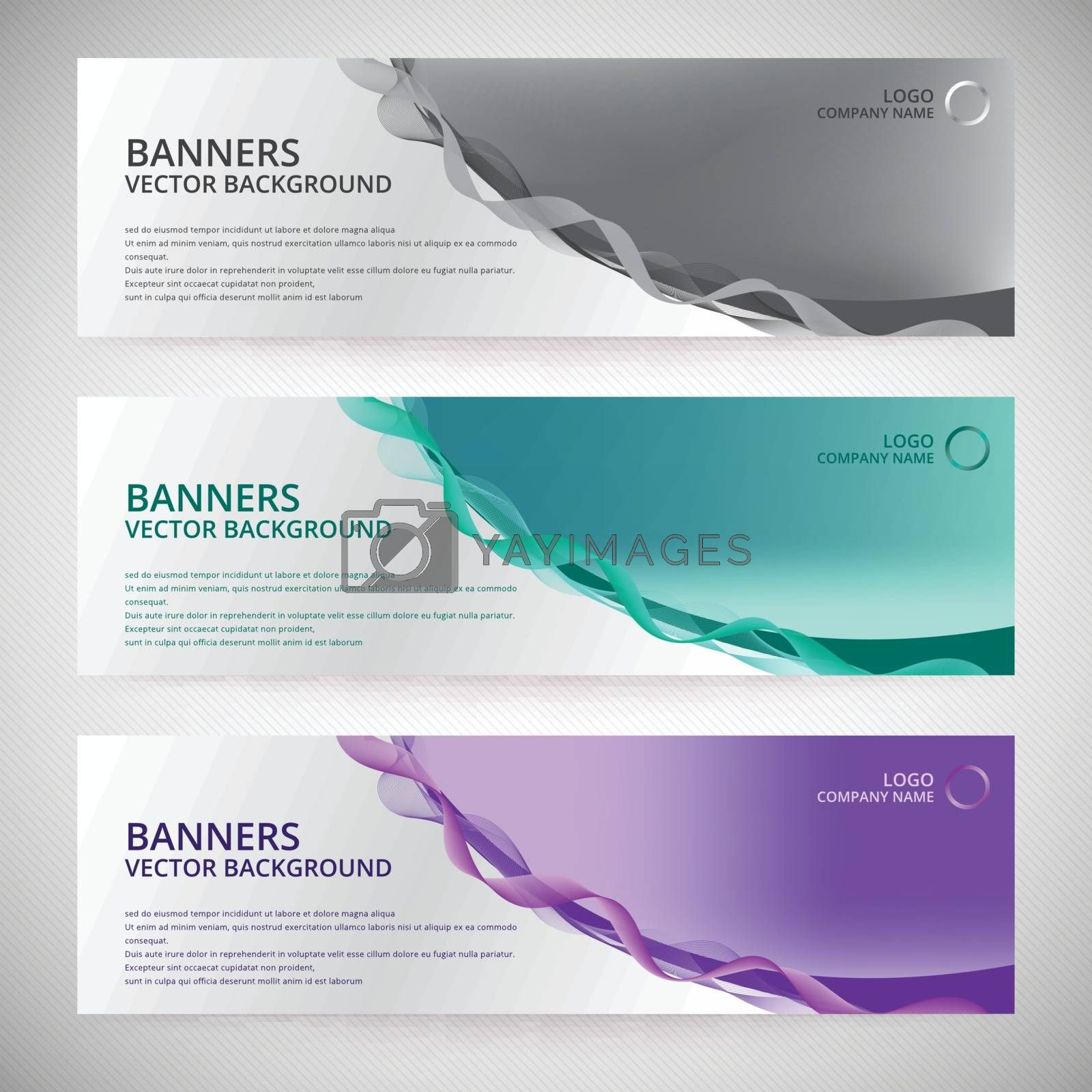 Abstract Web banner design background or header Templates with curve line wave element vector