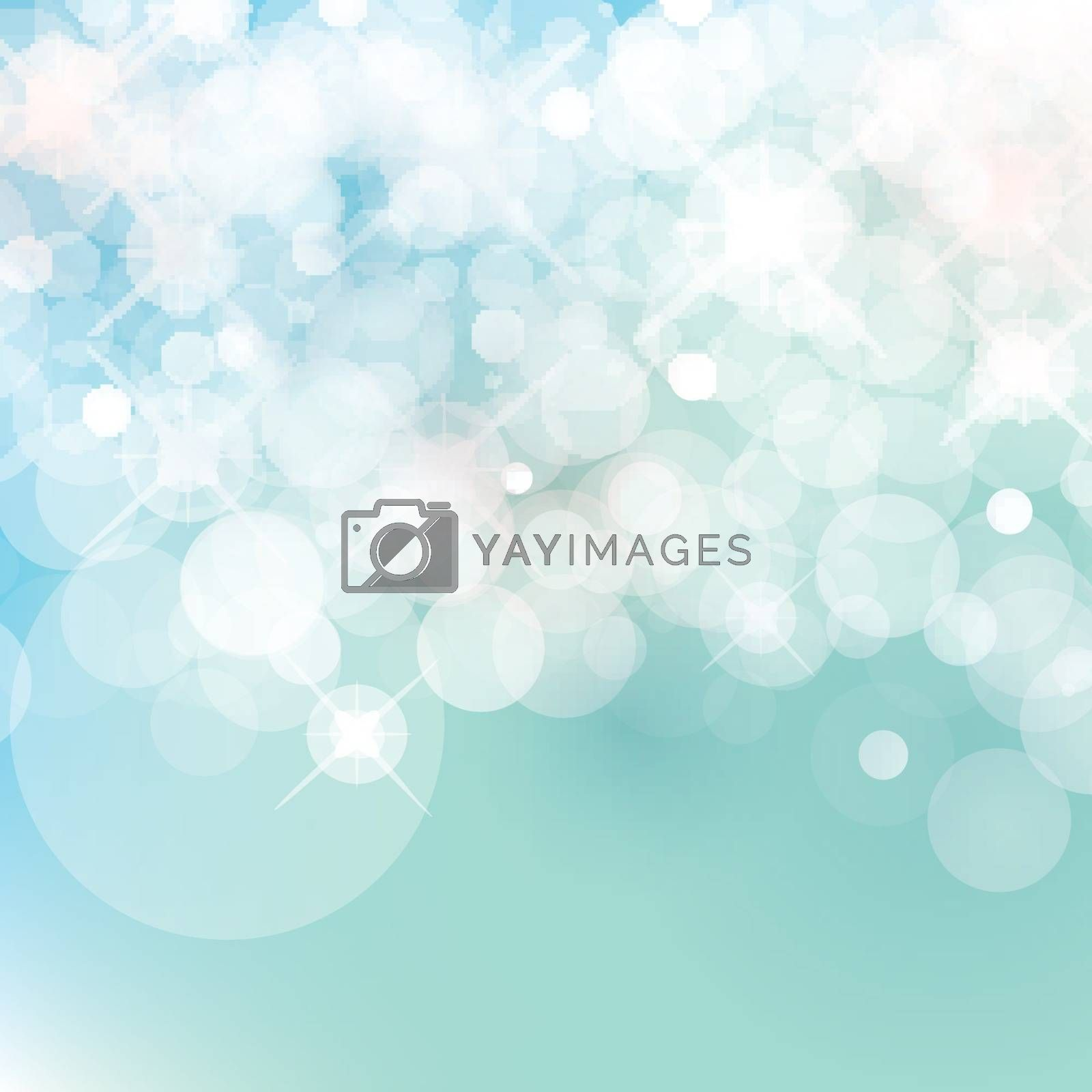 light blue Vector bokeh background made from white lights with sparkling glitter