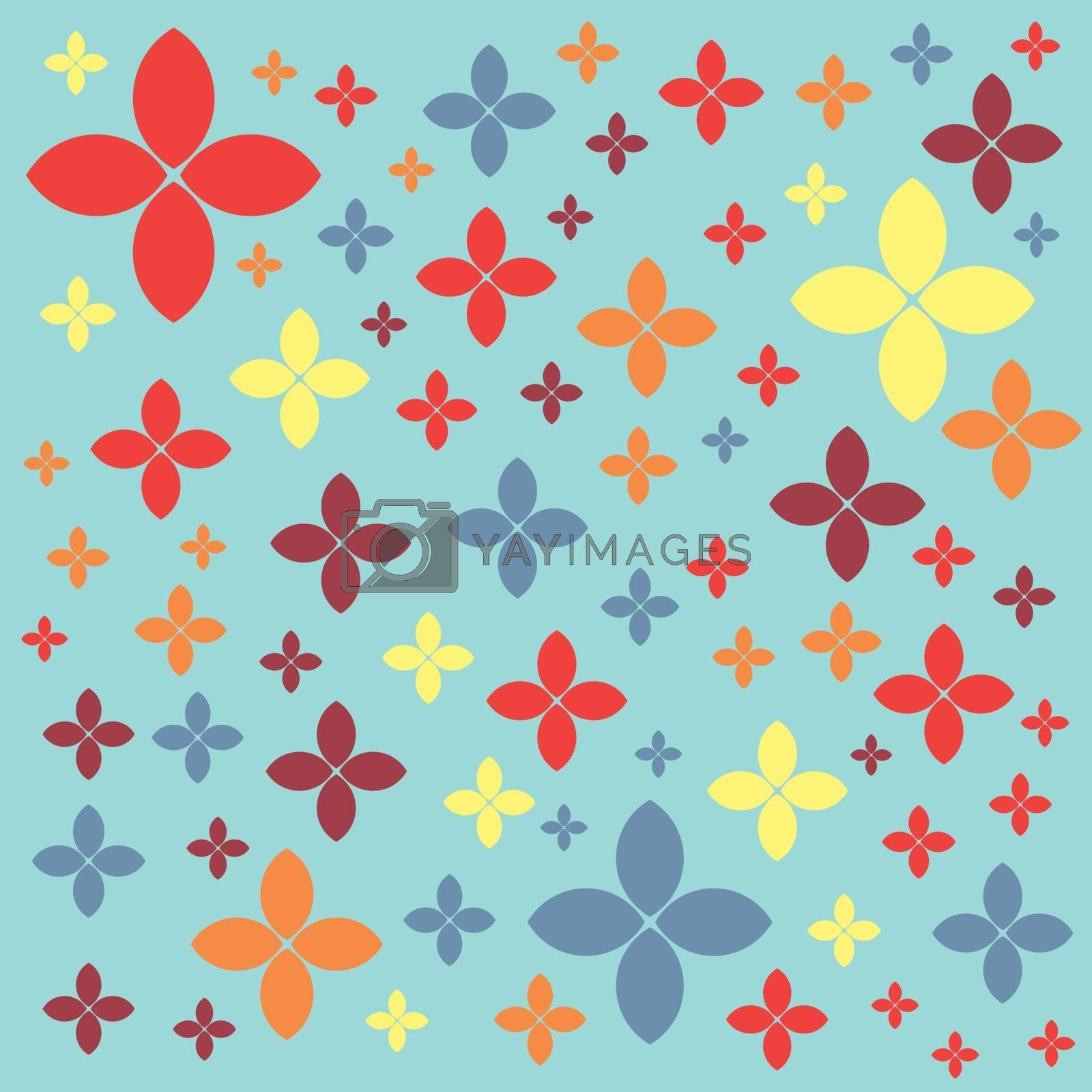 Seamless geometric pattern on a green pastel color background vector. Flowers and petals.