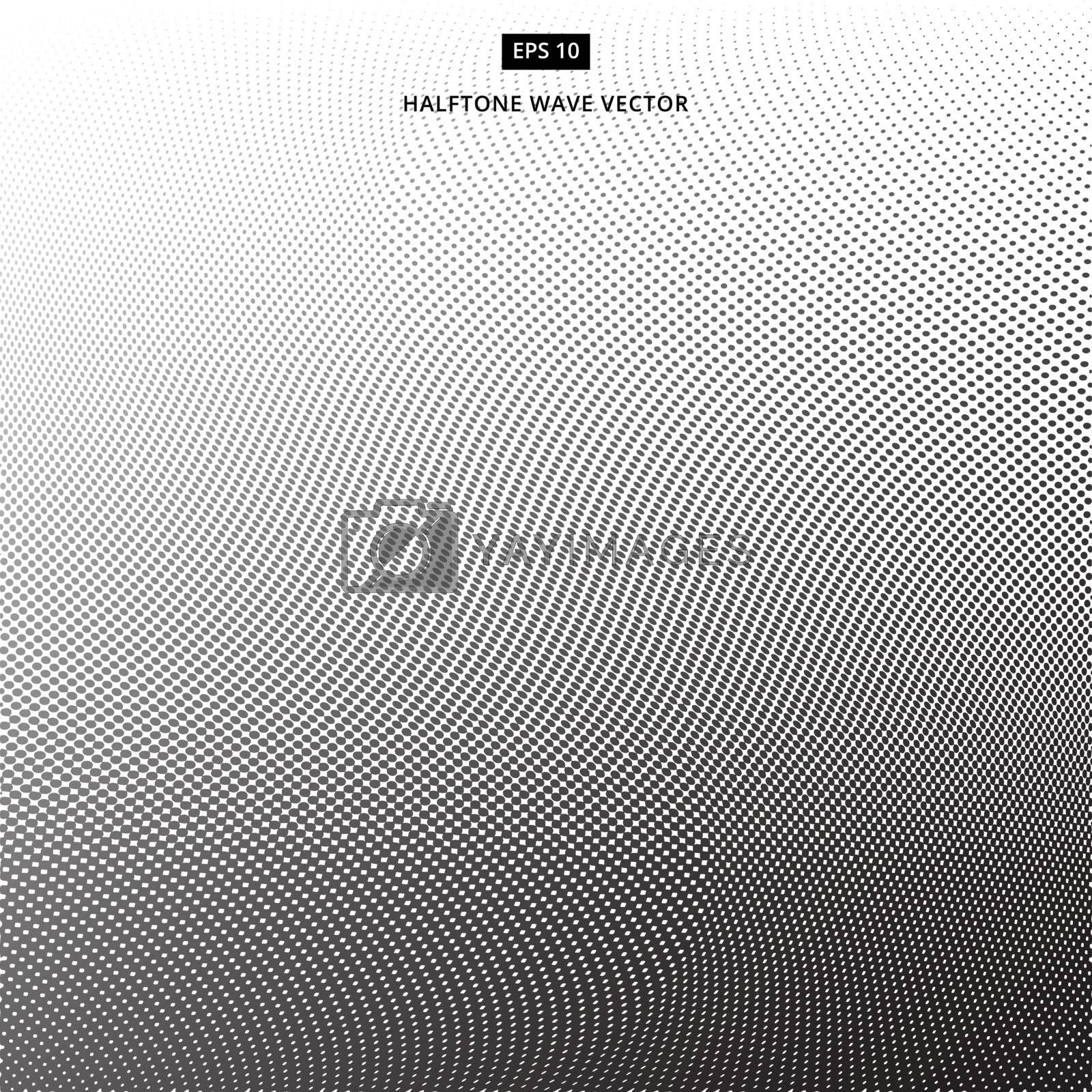 Abstract dotted background. Halftone wave effect vector white background