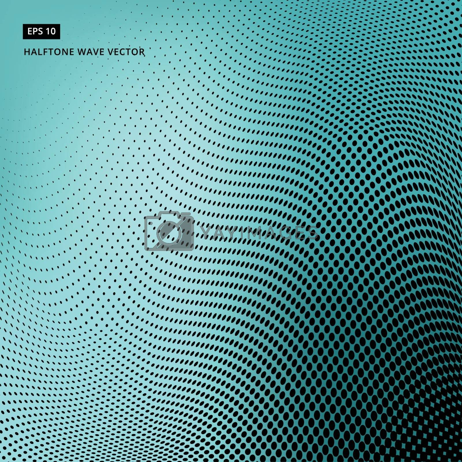 Abstract dotted background. Halftone wave effect vector turquoise background