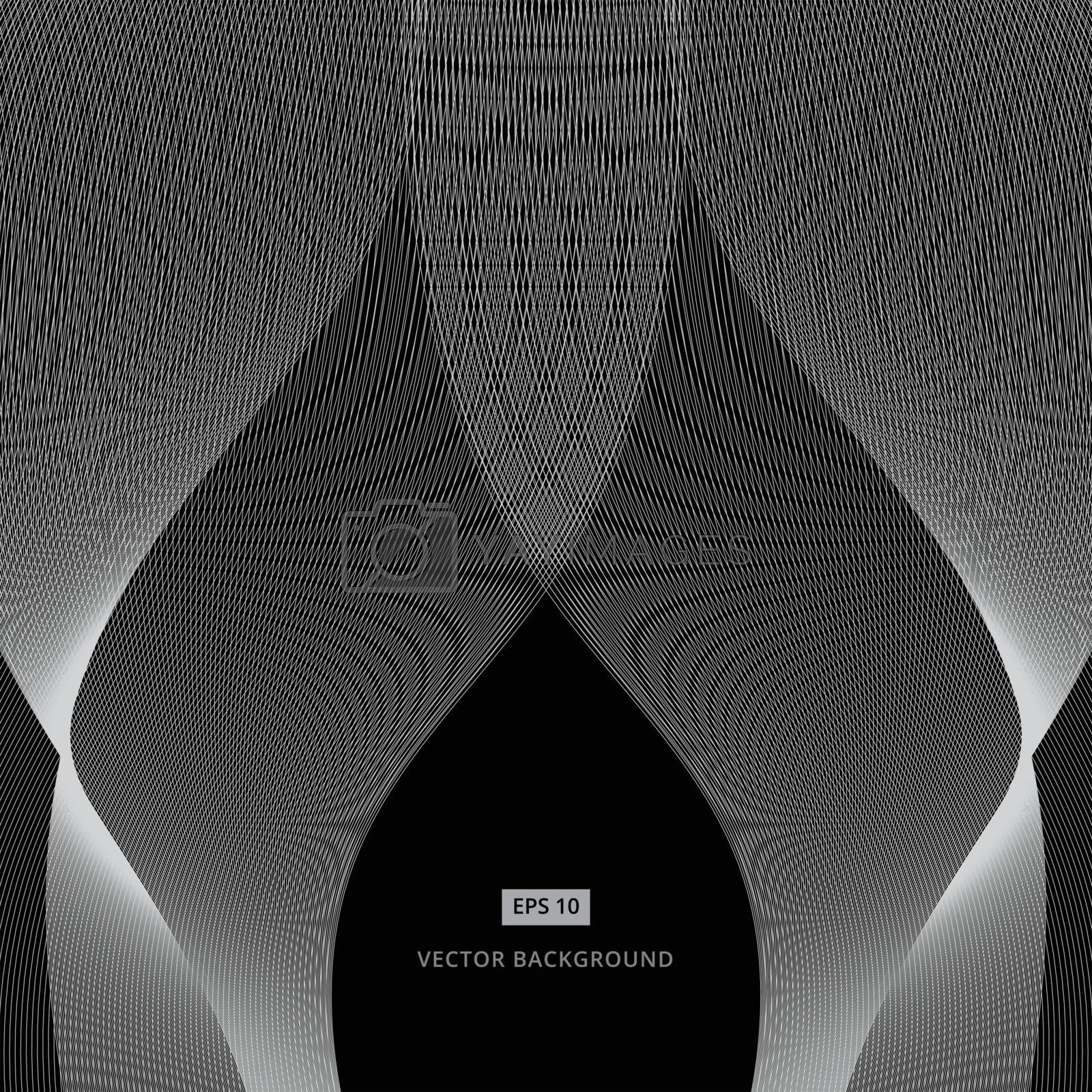 abstract white line grey wave pattern on black background vector