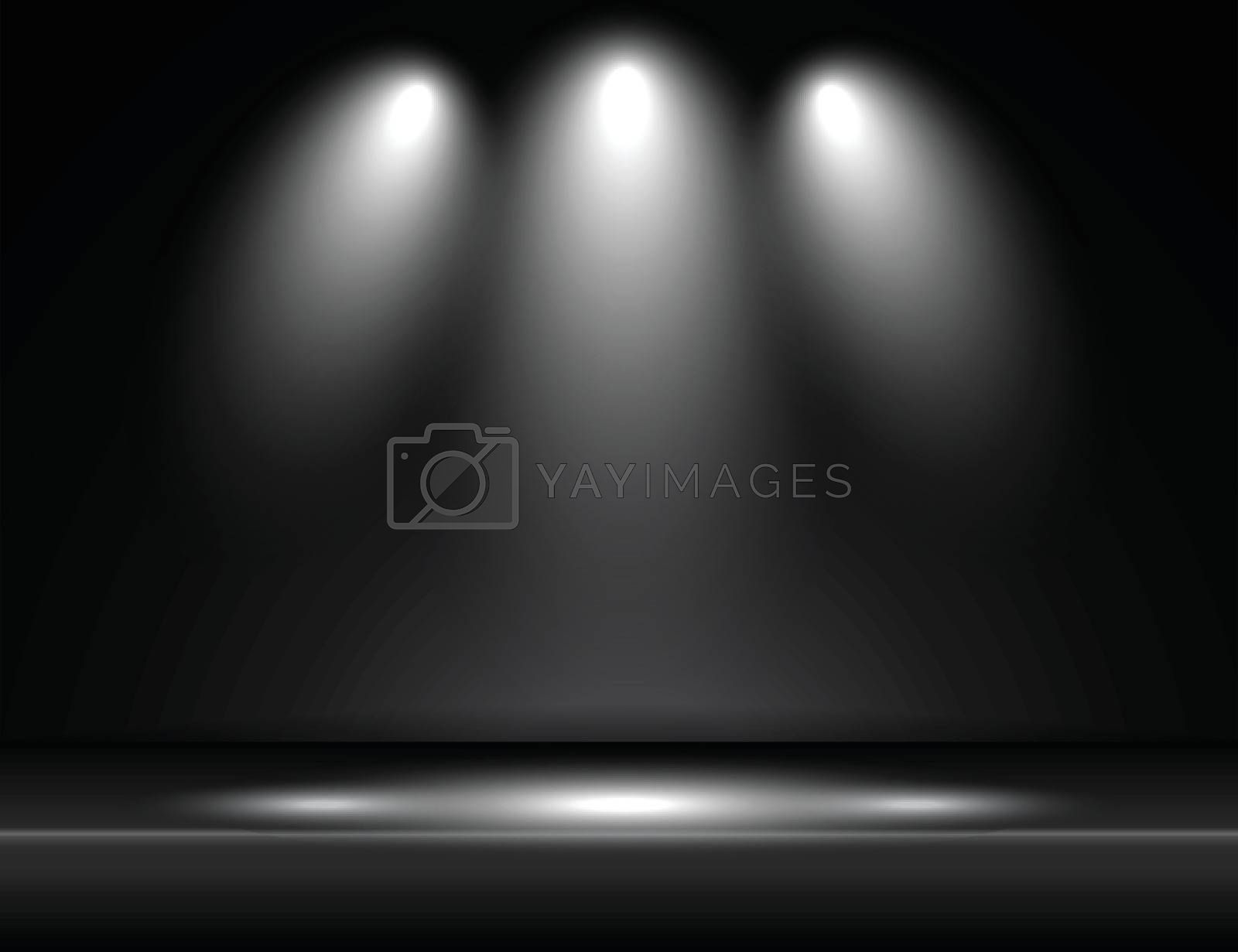 Spotlight black light rays room studio background for use in various applications and design products vector