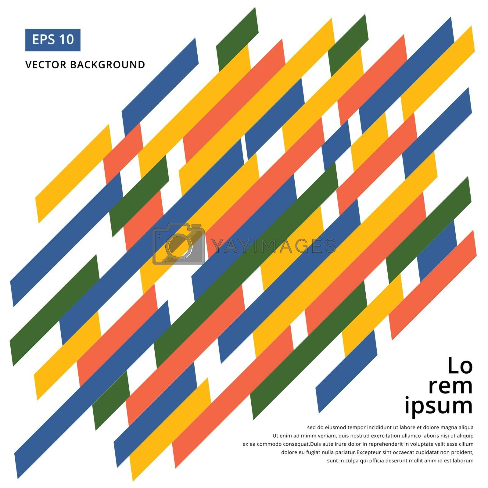 Minimalistic design, creative concept, modern diagonal abstract background Geometric element. Blue,yellow, green and orange diagonal lines & triangles. vector-stock illustration