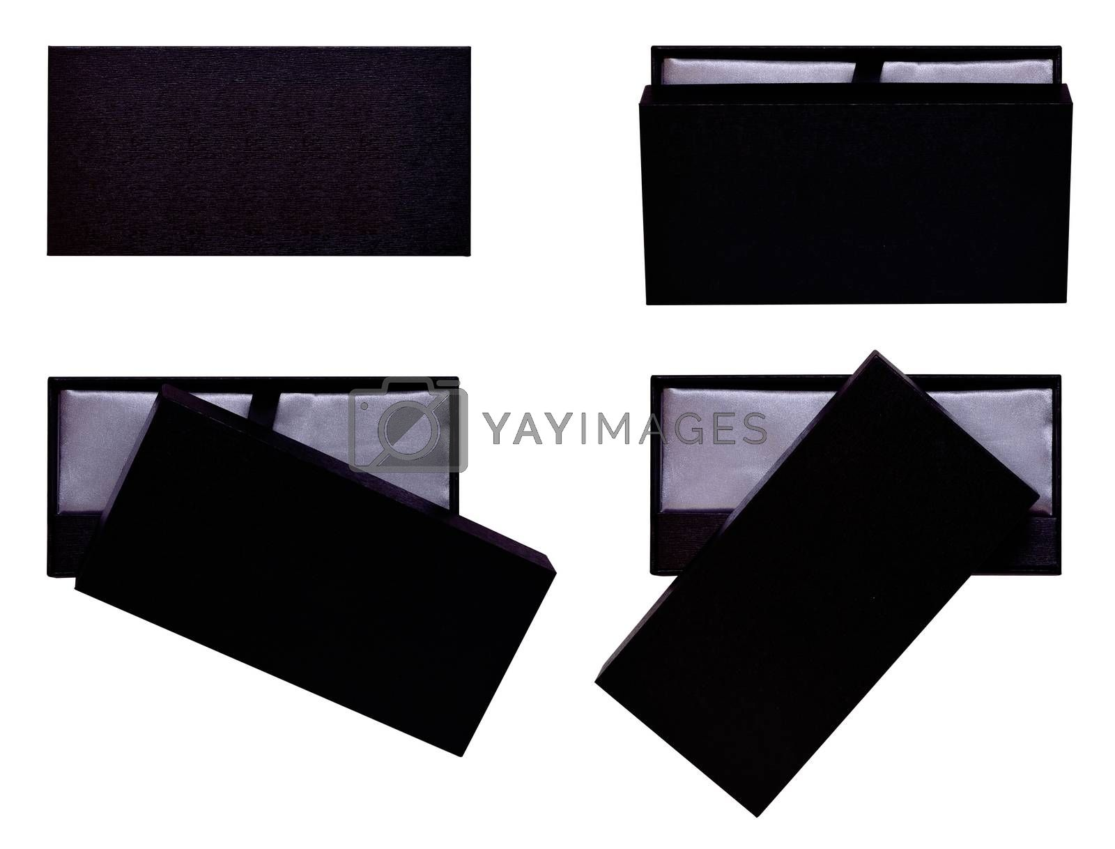 set Wooden box, elegant black package isolated on white background top view