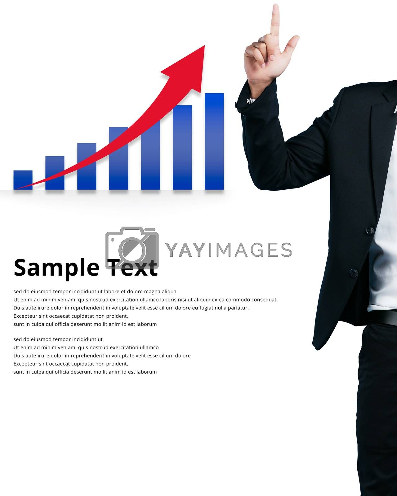 Businessman pointing a finger at graph sample text isolated on white background