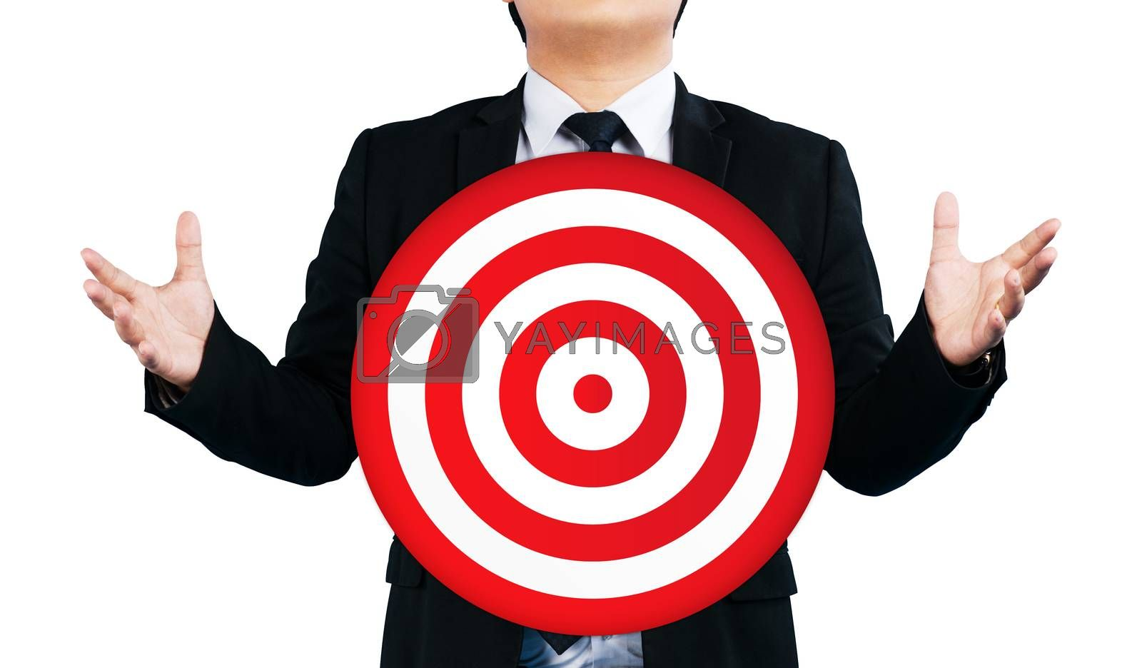 goals business man hand with thumb up and holding a dartboard isolated on white background / marketing concept