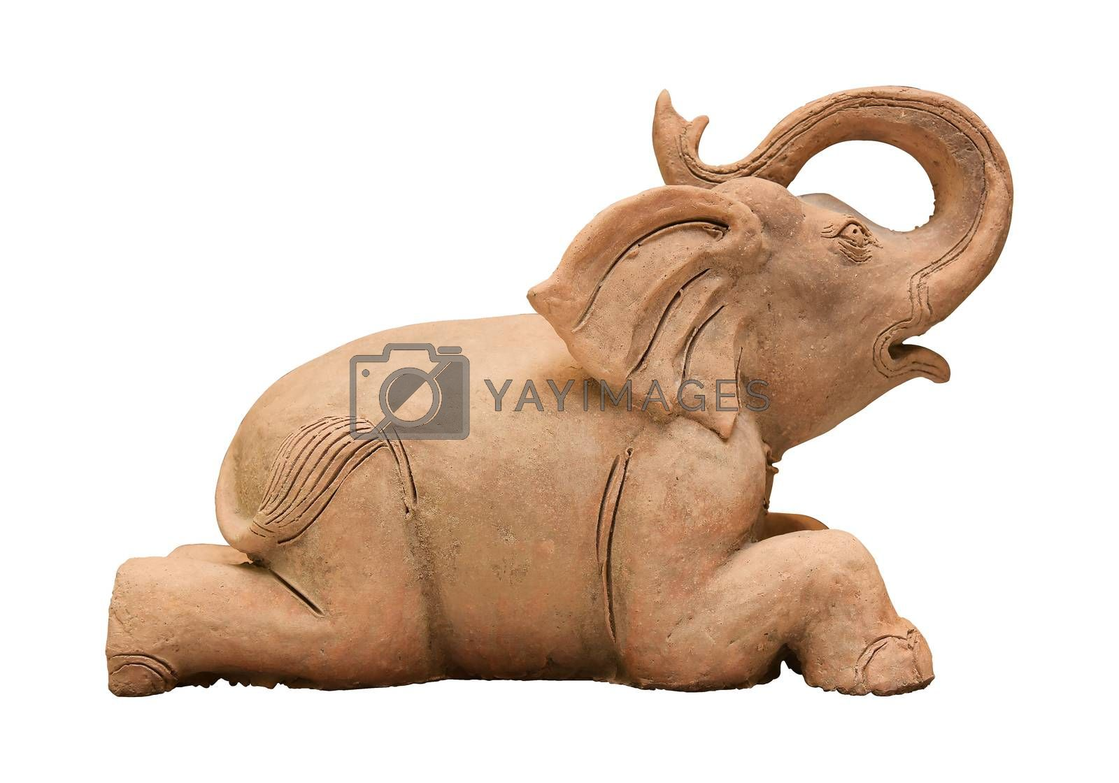 Elephant dolls, pottery isolated background