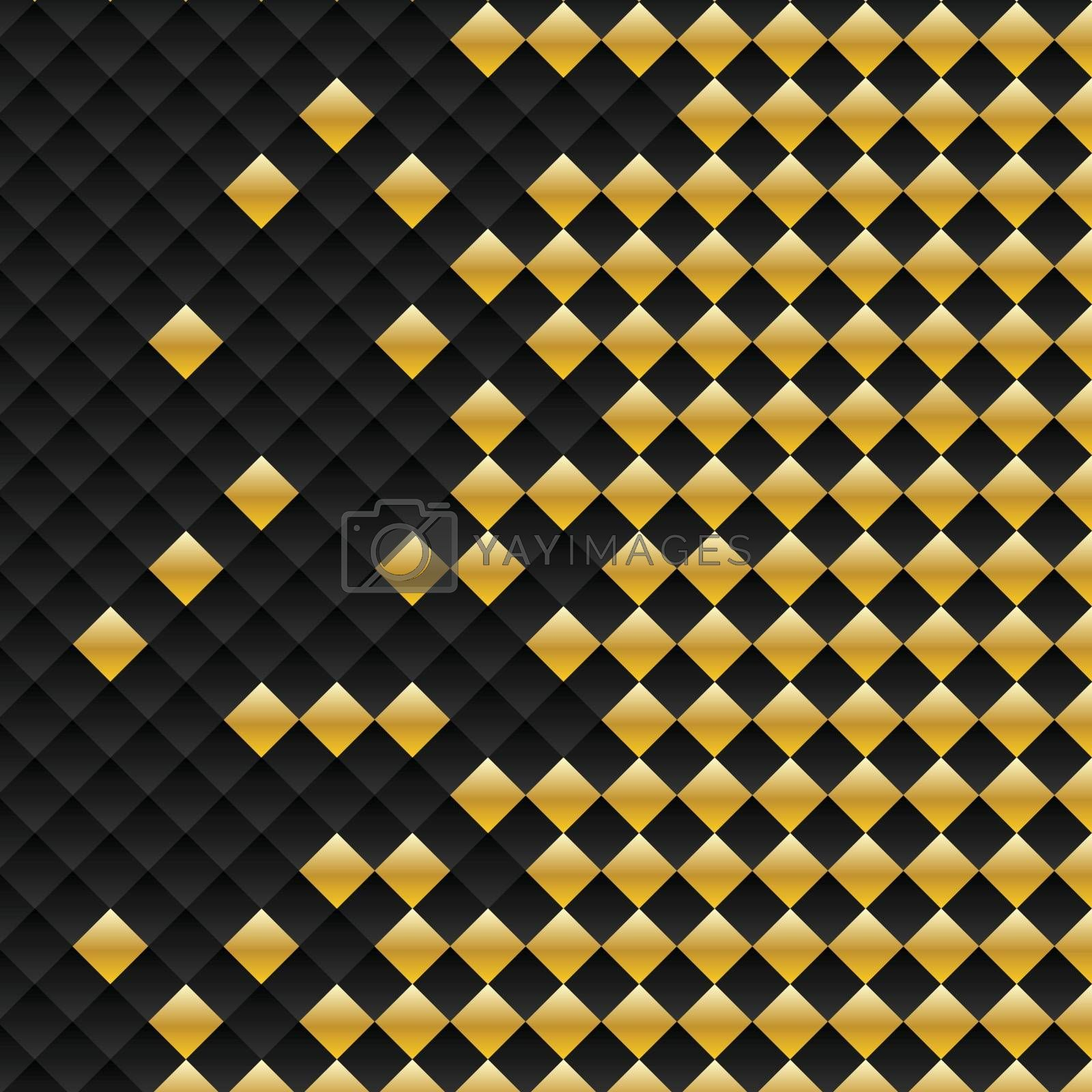 Vector black and gold square seamless pattern. Modern stylish texture. Repeating geometric tiles luxury background