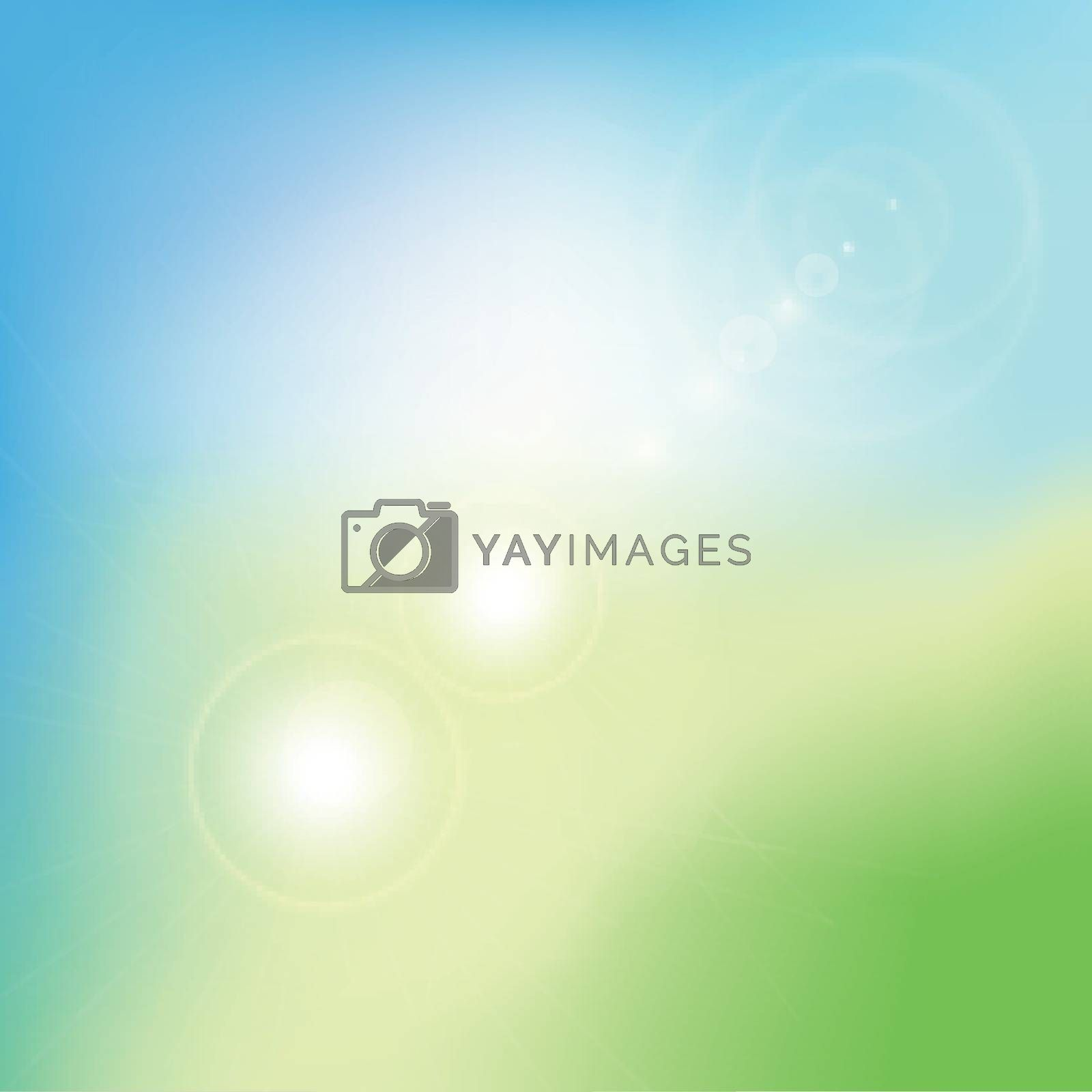 Abstract green blurred gradient background with flare. Nature backdrop. Vector illustration. Ecology concept for your graphic design, banner or poster.