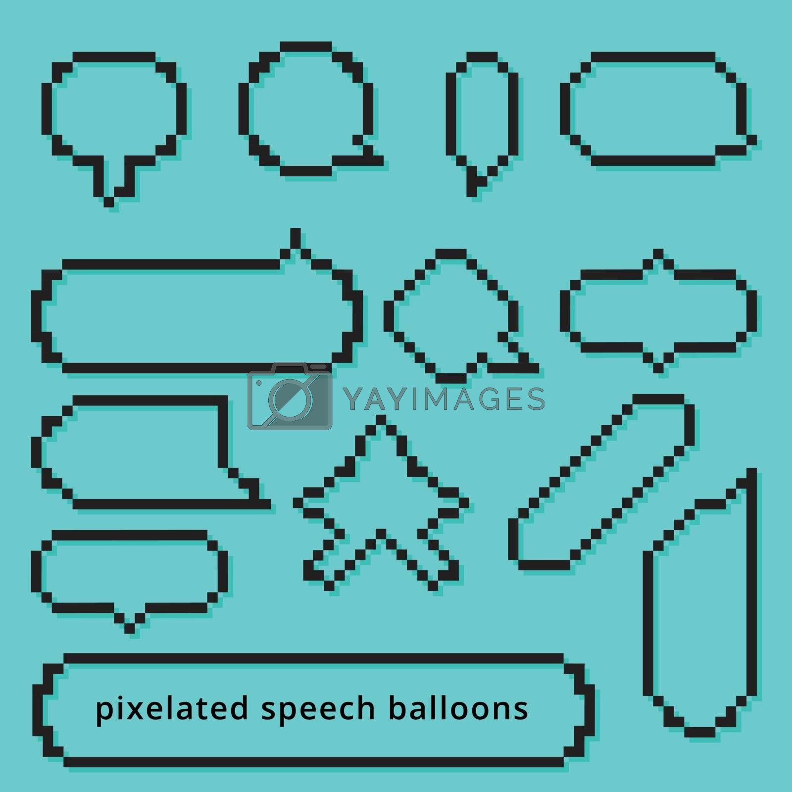 set Pixel art style gameing speech bubble seamless vector pattern blue