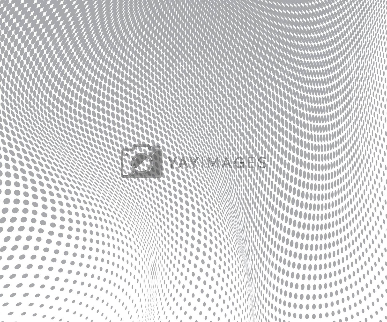 gray circles on white background. Halftone wave texture. Vector illustration.
