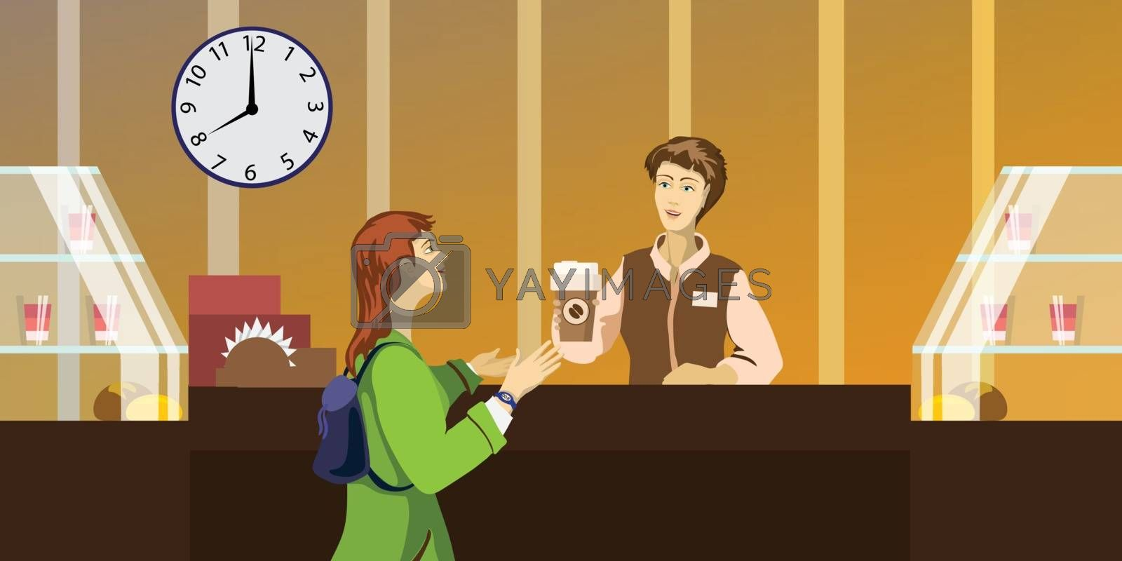 Detailed character people in the restaurant, canteen catering service for public and personnel restaurant, restaurant waiter serves guests