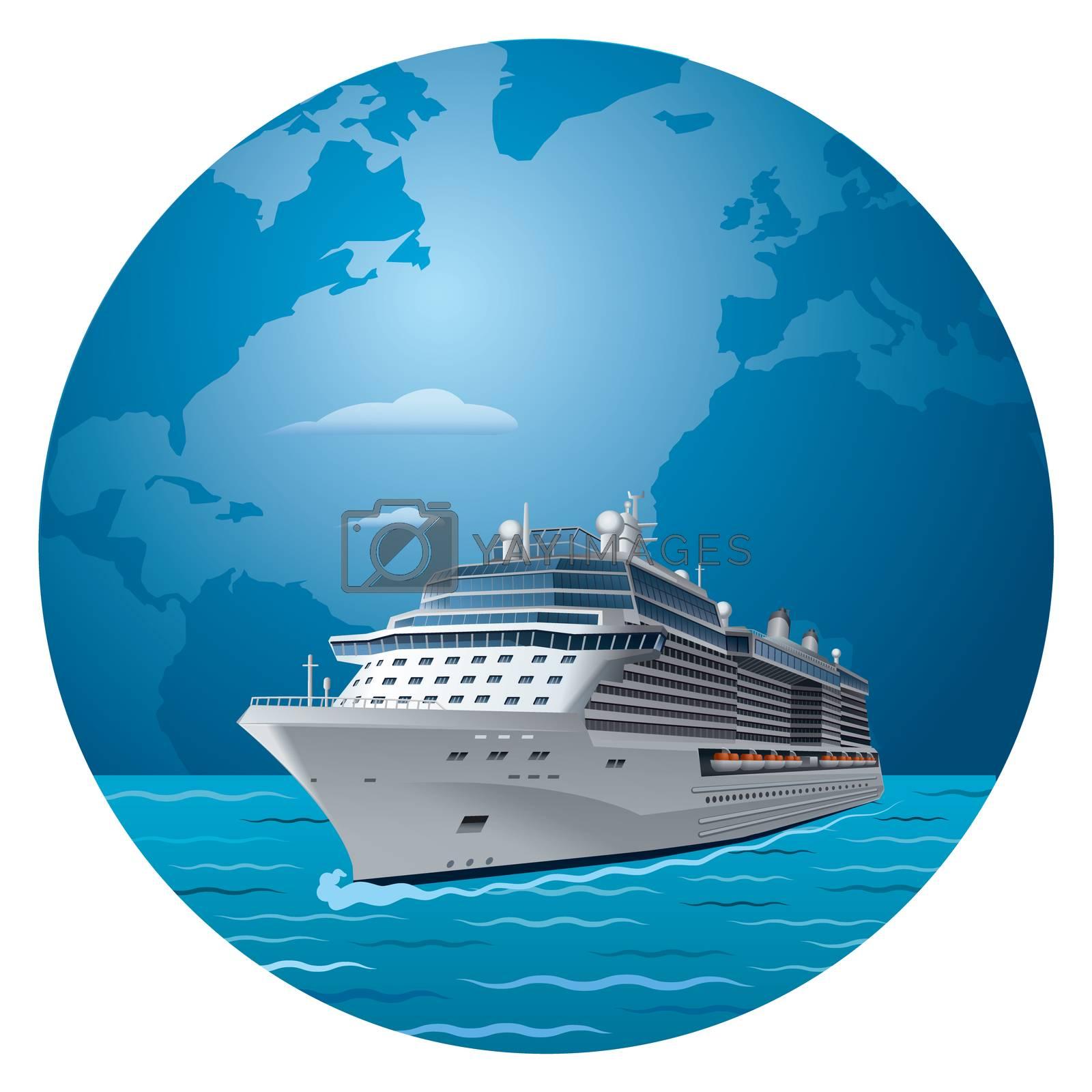 illustration of cruise ship round the world travel