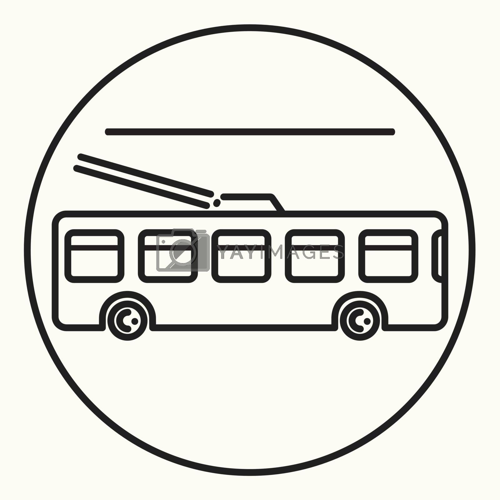 Minimal outline trolleybus icon, vector trolley bus sign