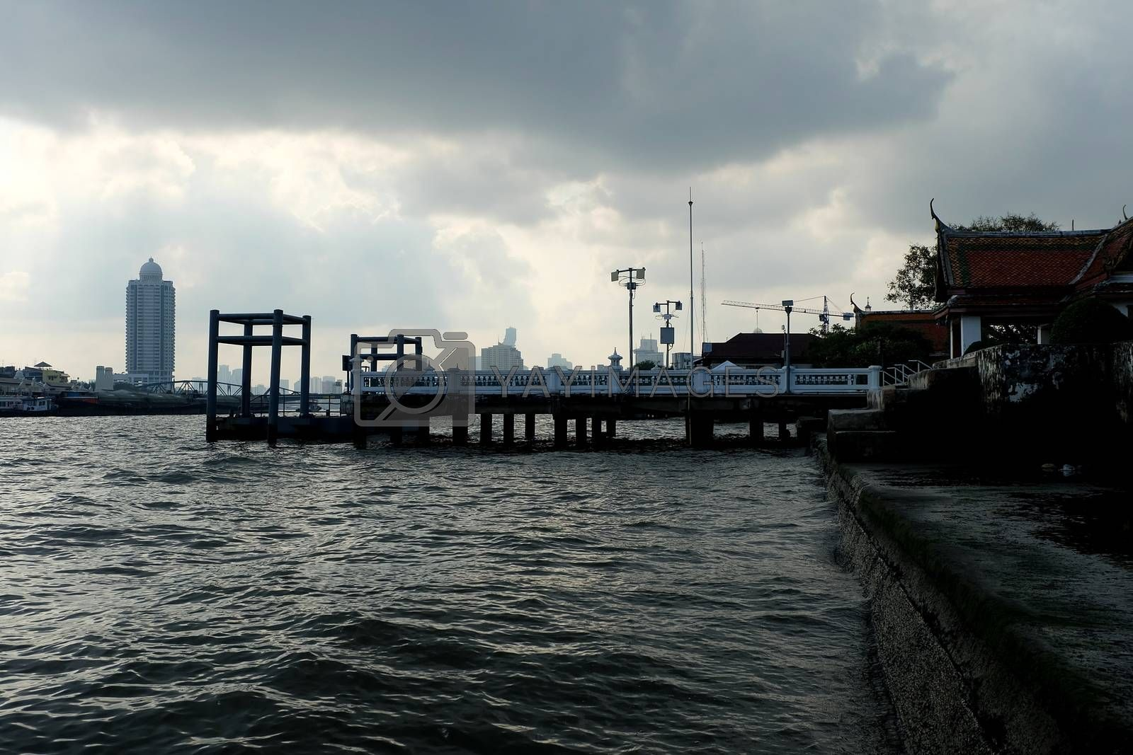 Scenery of Chaophraya River from Kalayanamit temple pier. Chaophraya River is the major river in Thailand.