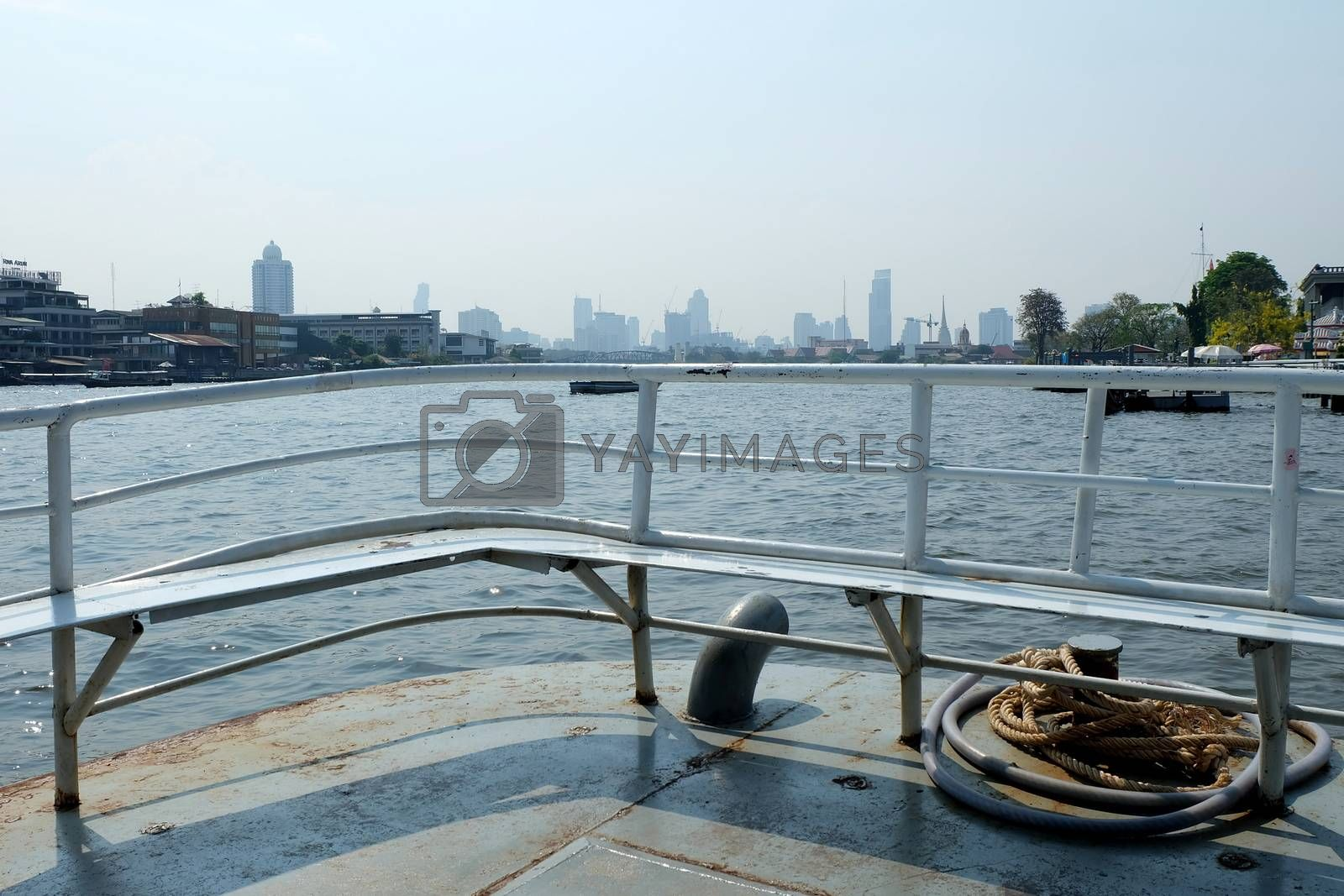 Scenery of Chaophraya River from local ferry. Chaophraya River is the major river in Thailand.