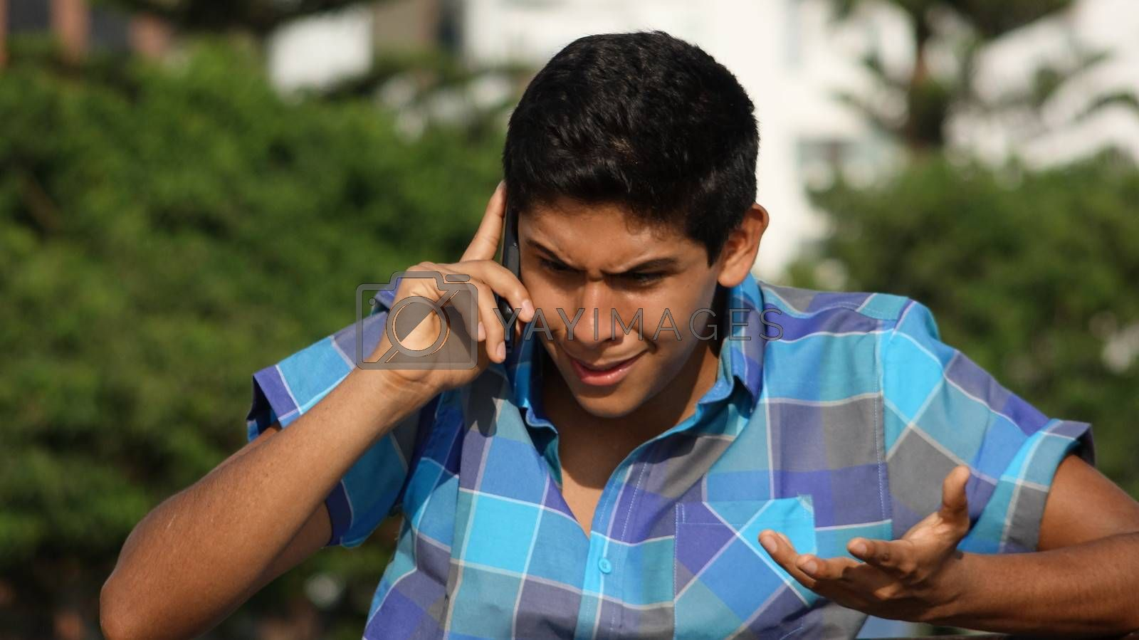 Angry Or Stressed Teen Phone Call