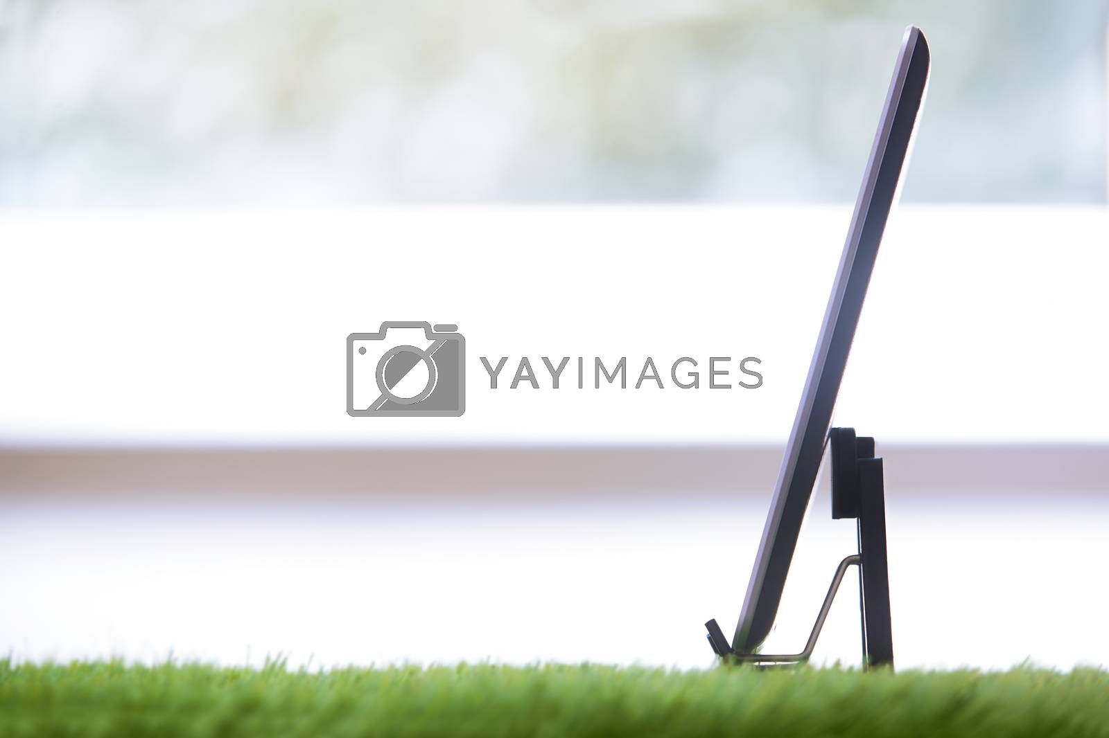 Digital tablet in a grass office. Horizontal photo