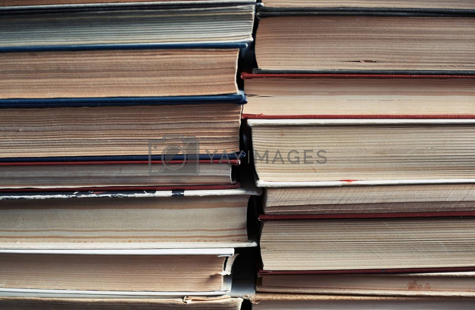 Stack of old worn books