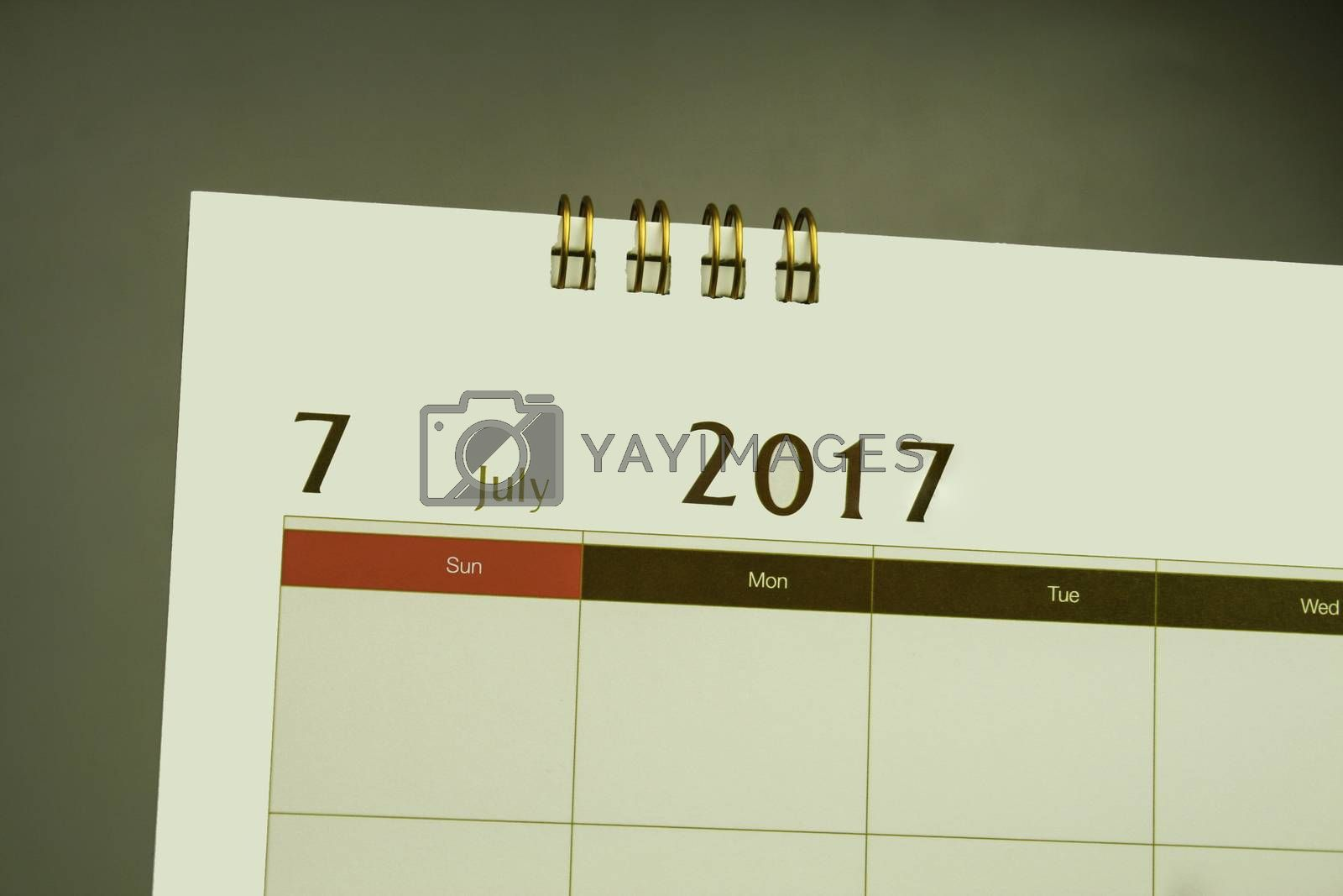 Calendar page of month 2016