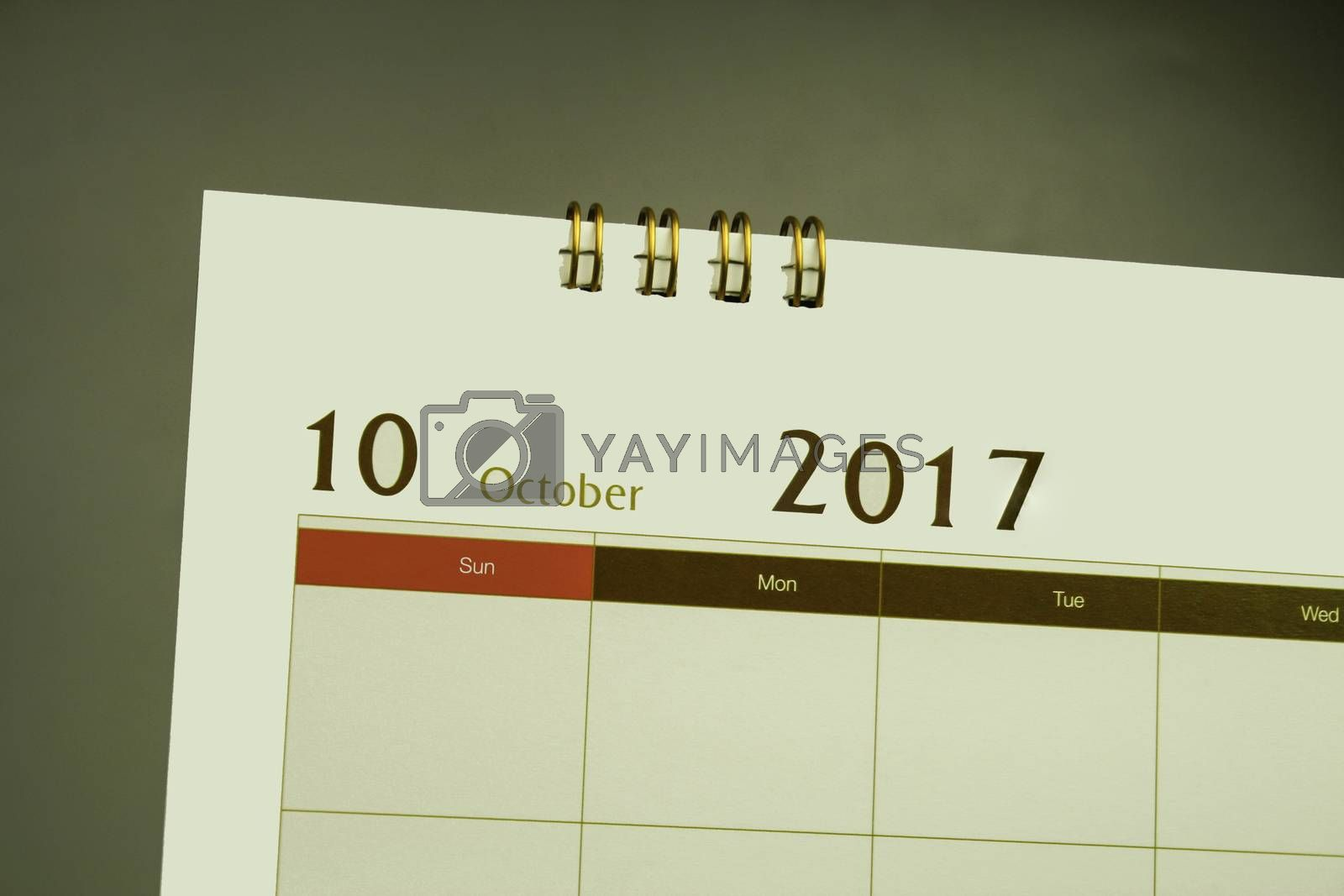 Calendar page of month 2017