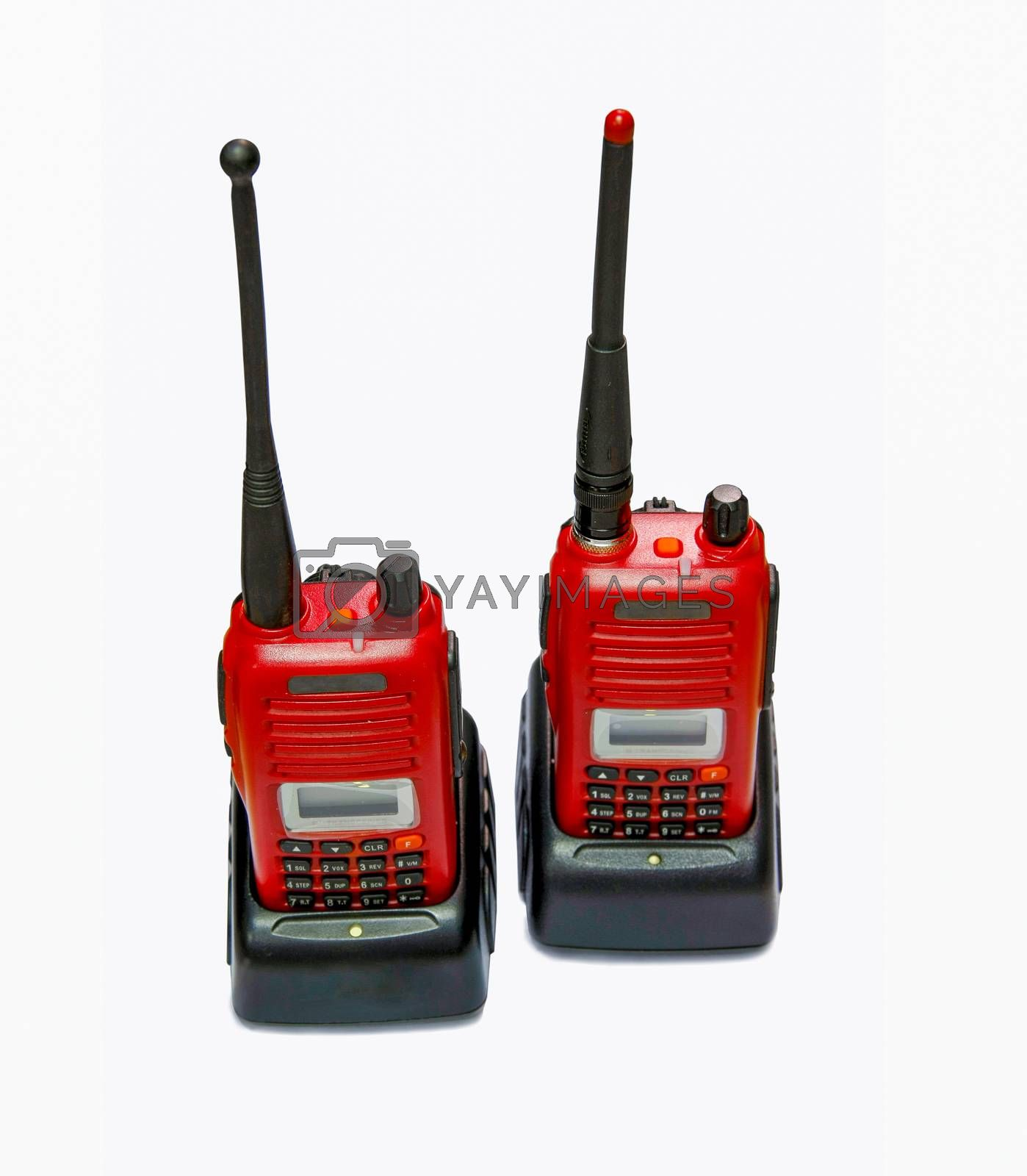 two red radio communication in chargers on white background