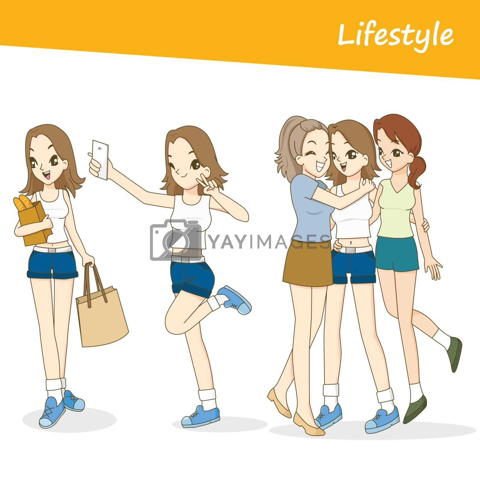 Vector people set, Beautiful women in lifestyle day by nattio