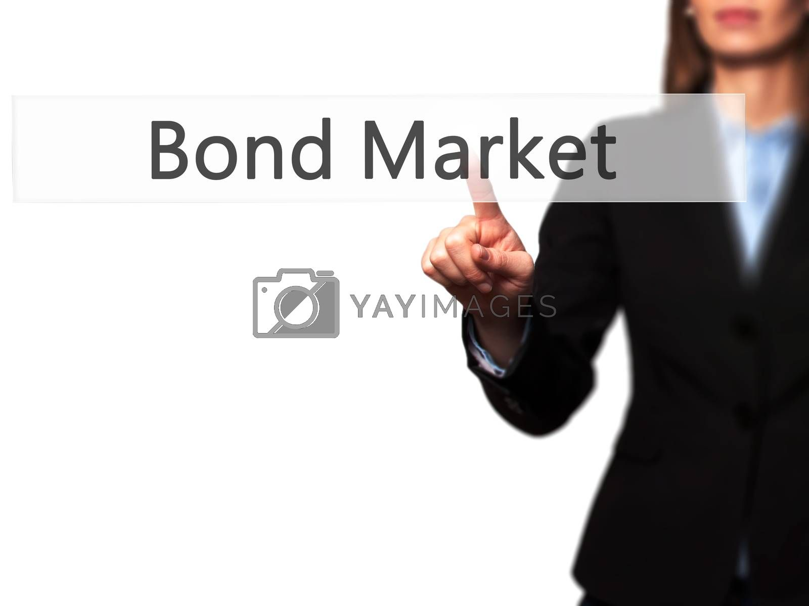 Bond Market -  Young girl working with virtual screen an touchin by jackald