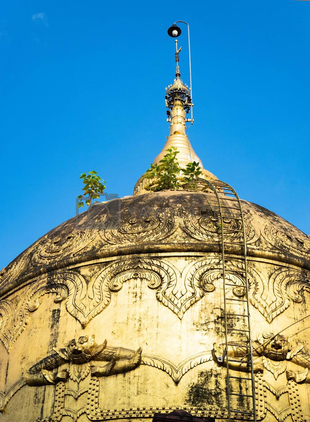 Detail of old pagoda at the Moe Hnying Monastery in Yangon, Myanmar.