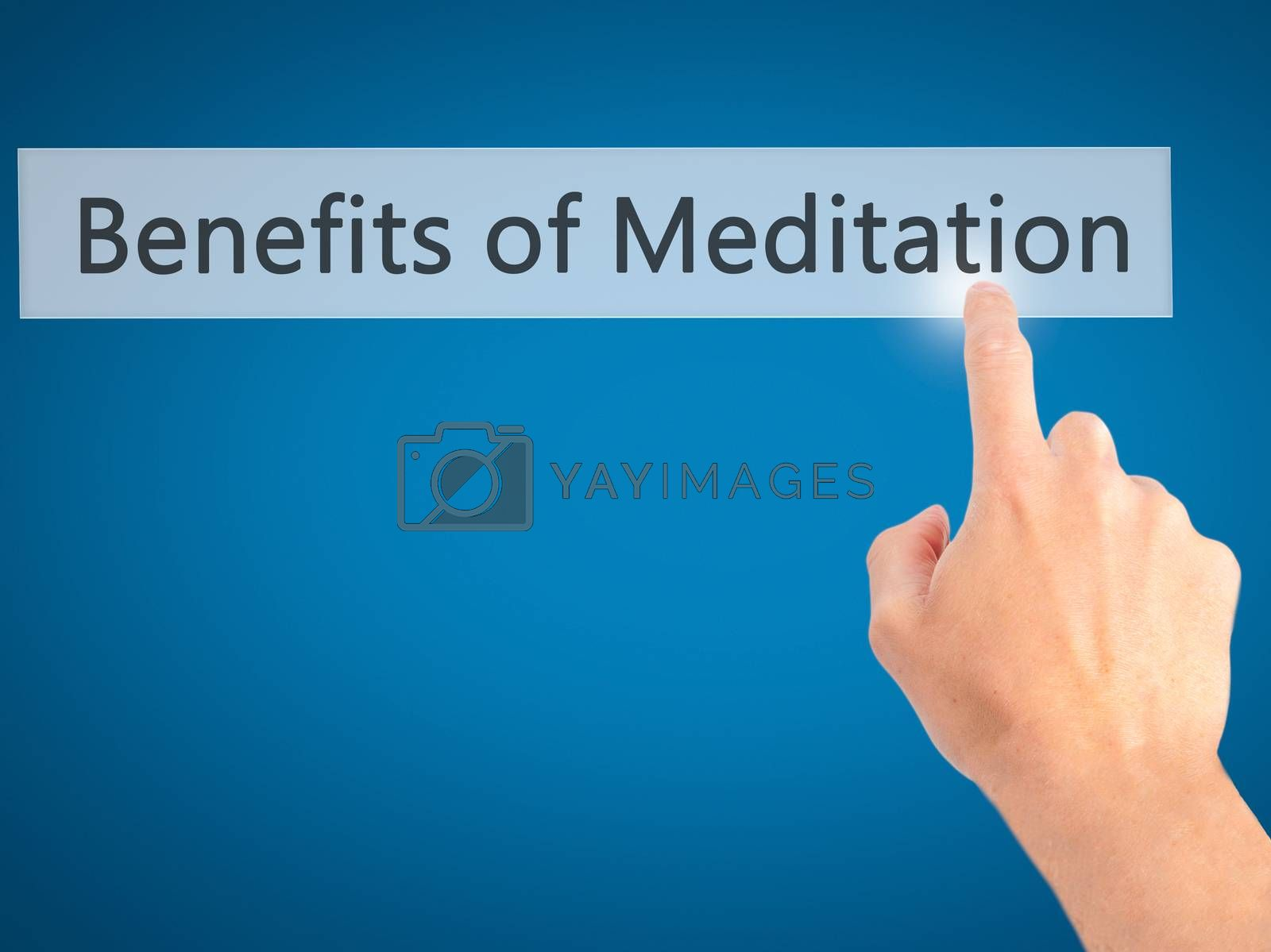 Benefits of Meditation - Hand pressing a button on blurred background concept . Business, technology, internet concept. Stock Photo
