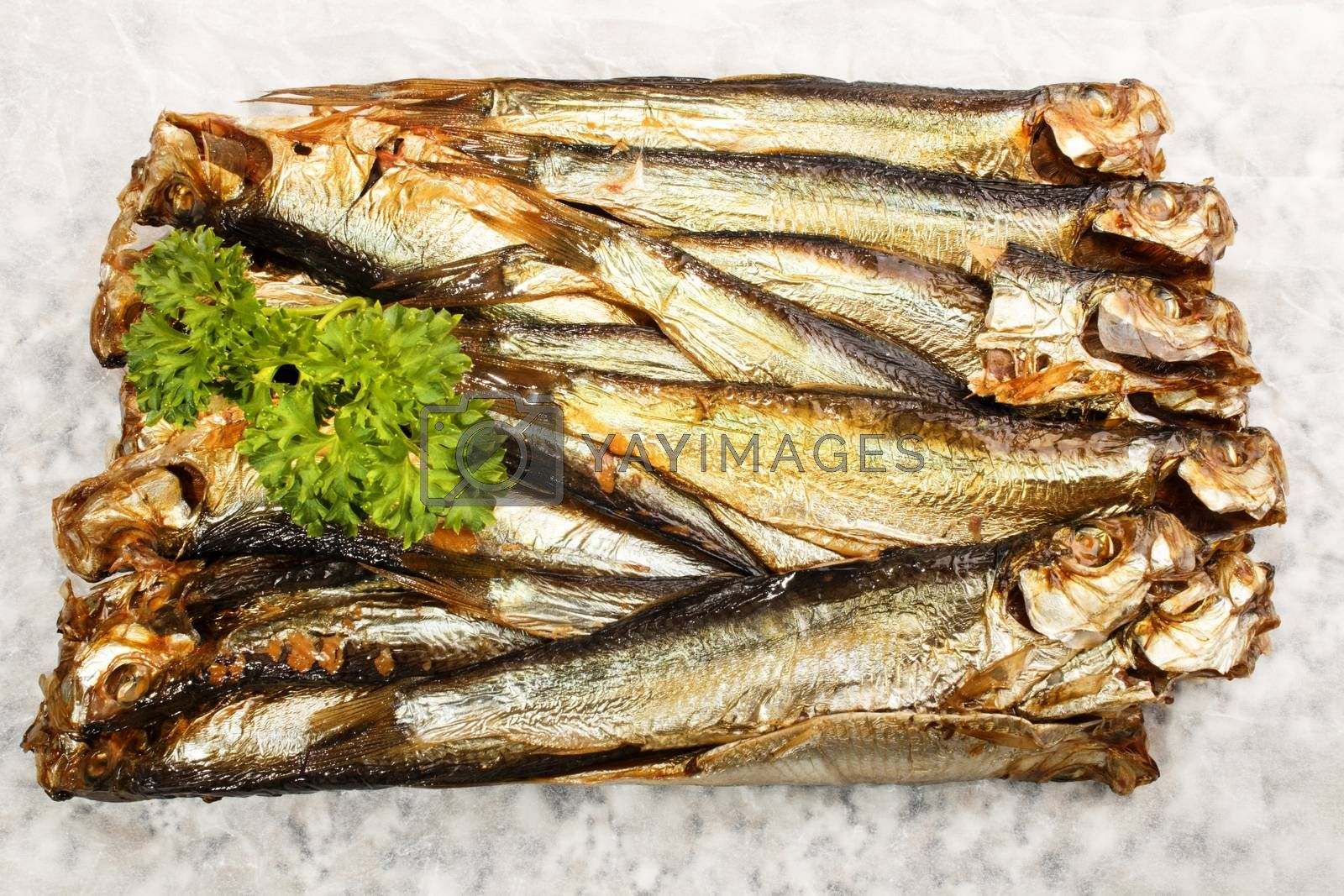 smoked sprats and fresj parsley on white paper