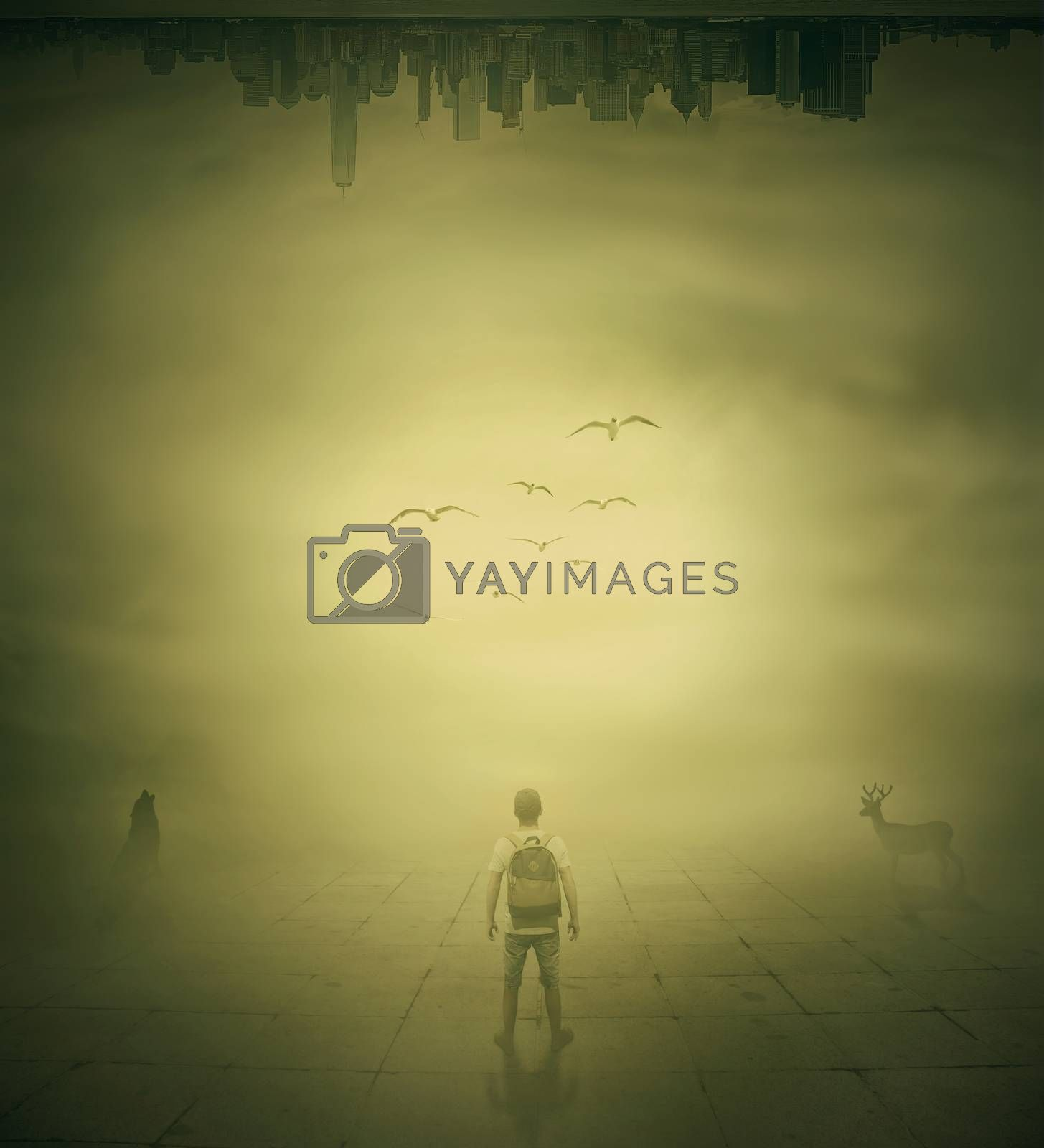 Surrealistic image with a man standing in a foggy street below a city buidings choosing the correct way