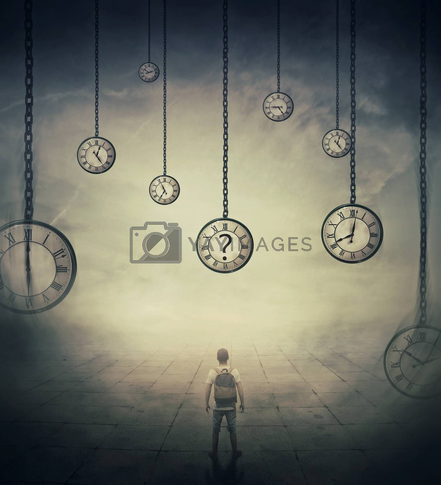 Surrealistic image with a man lost in time, standing in a foggy street in front of huge clocks set to different times. Hour perception and time travel concept.