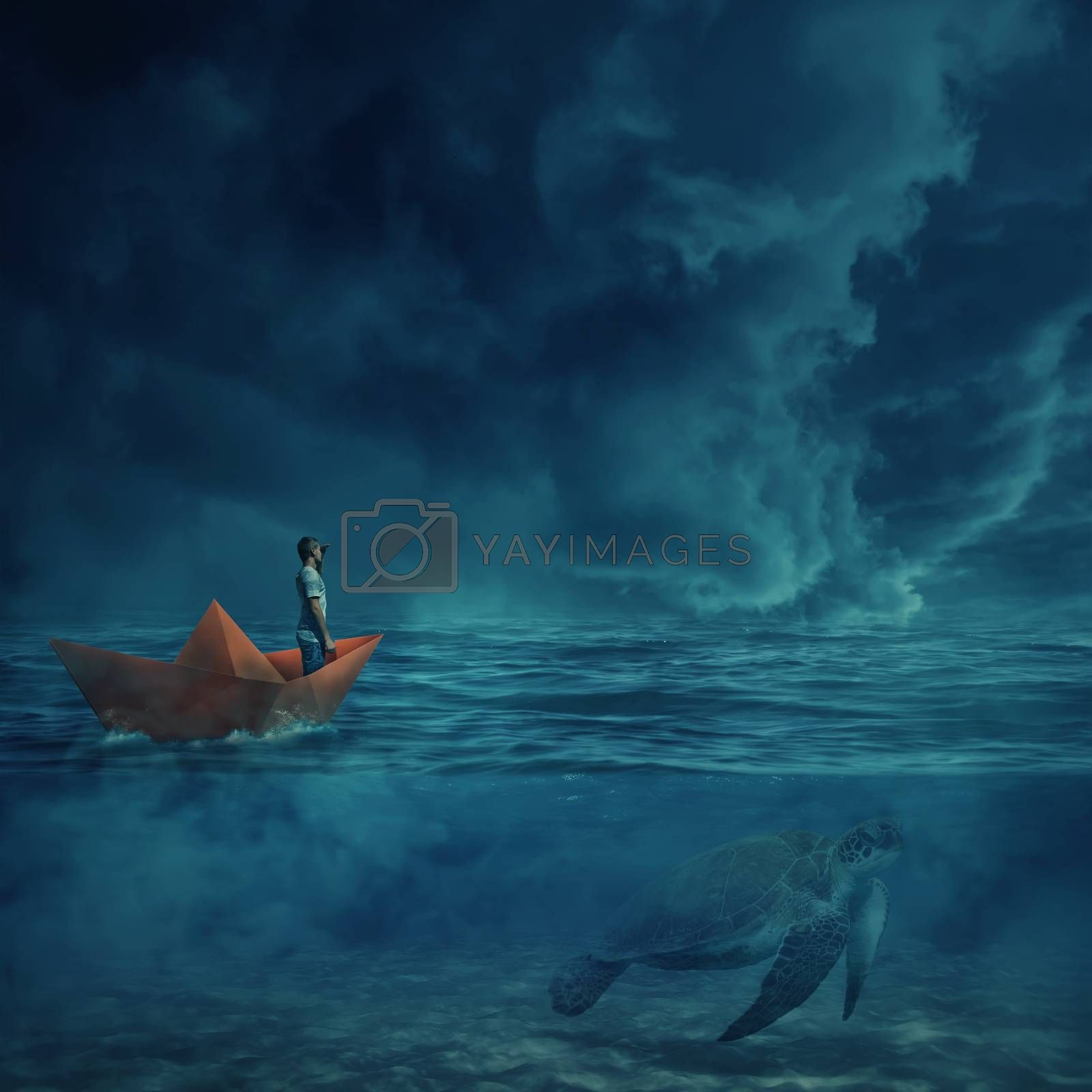 Young boy in a orange paper boat sail lost in the ocean, in a stormy night and a huge turtle underwater, as a guide, show him the way home. Adventure and journey concept.