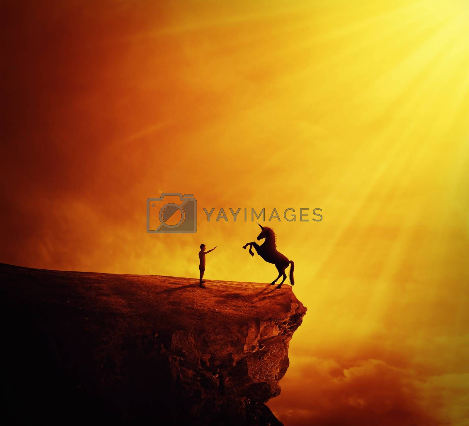 Idyllic view with a boy standing at the edge of a cliff chasm trying to tame a wild unicorn. Begining of a new friendship, fearless symbol