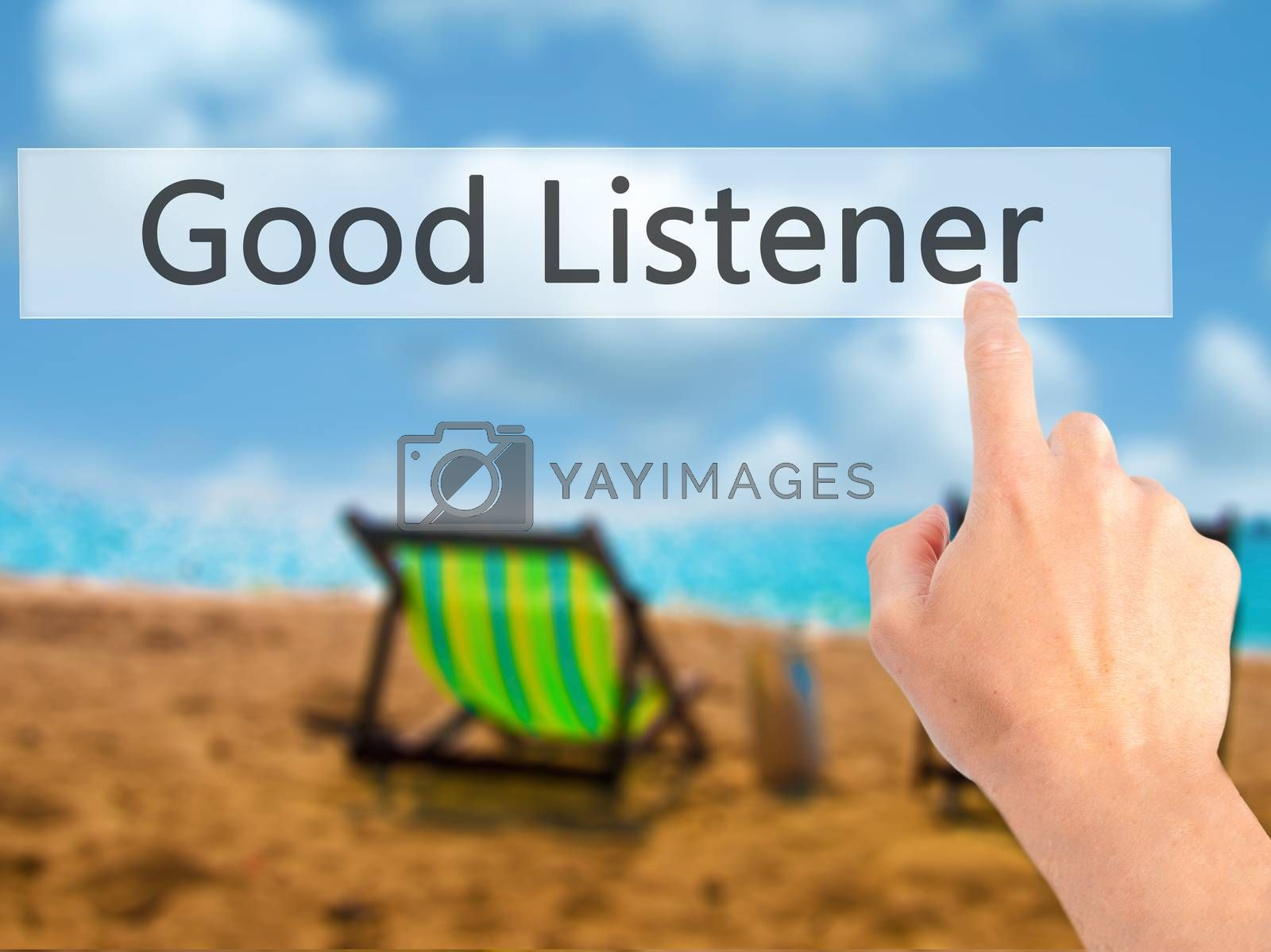 Good Listener - Hand pressing a button on blurred background con by netsay.net