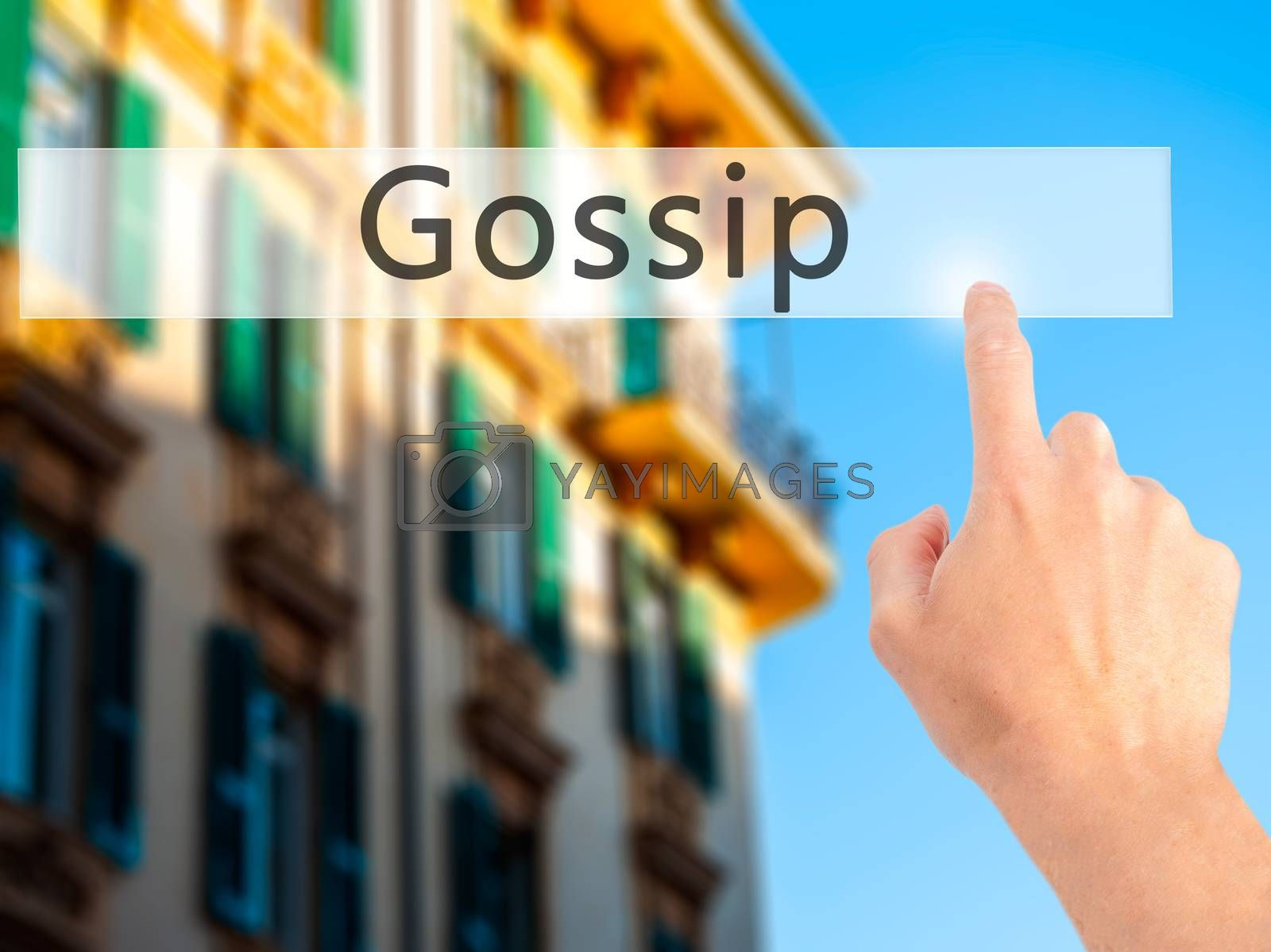 Gossip - Hand pressing a button on blurred background concept on by netsay.net