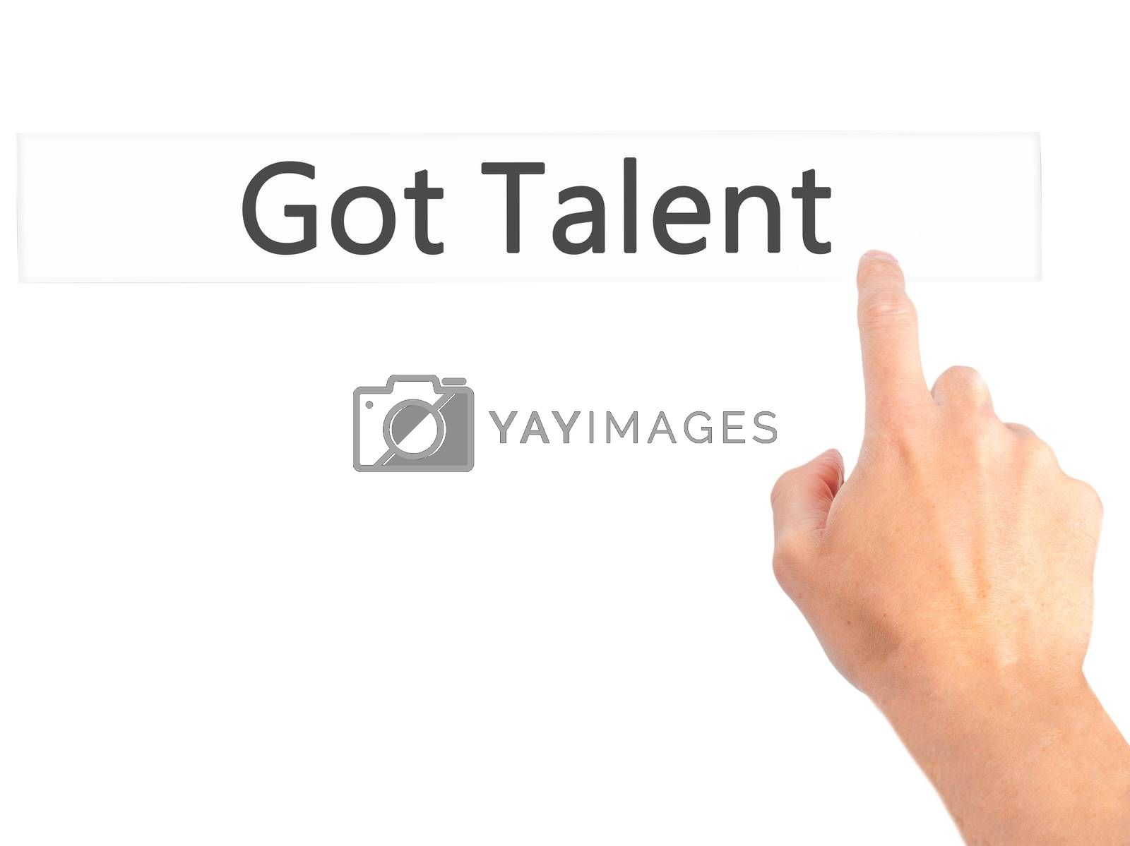 Got Talent - Hand pressing a button on blurred background concep by netsay.net