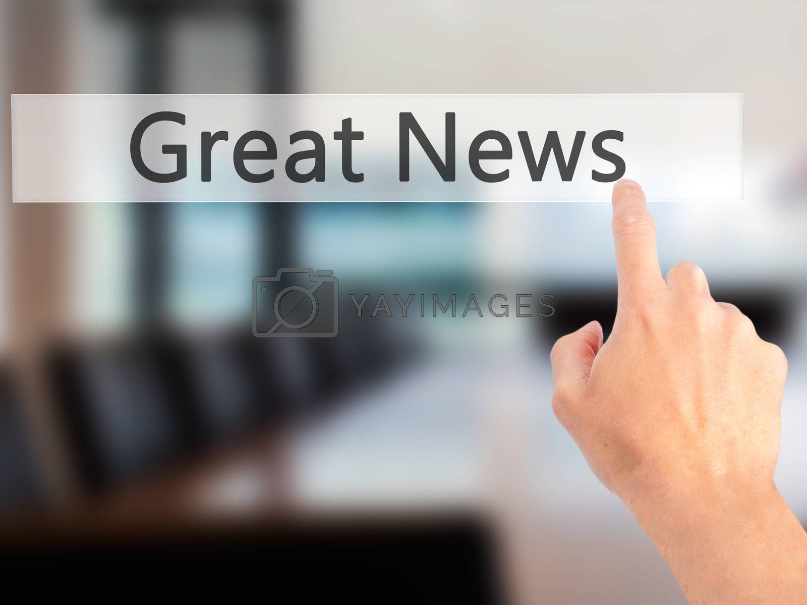 Great News - Hand pressing a button on blurred background concep by jackald