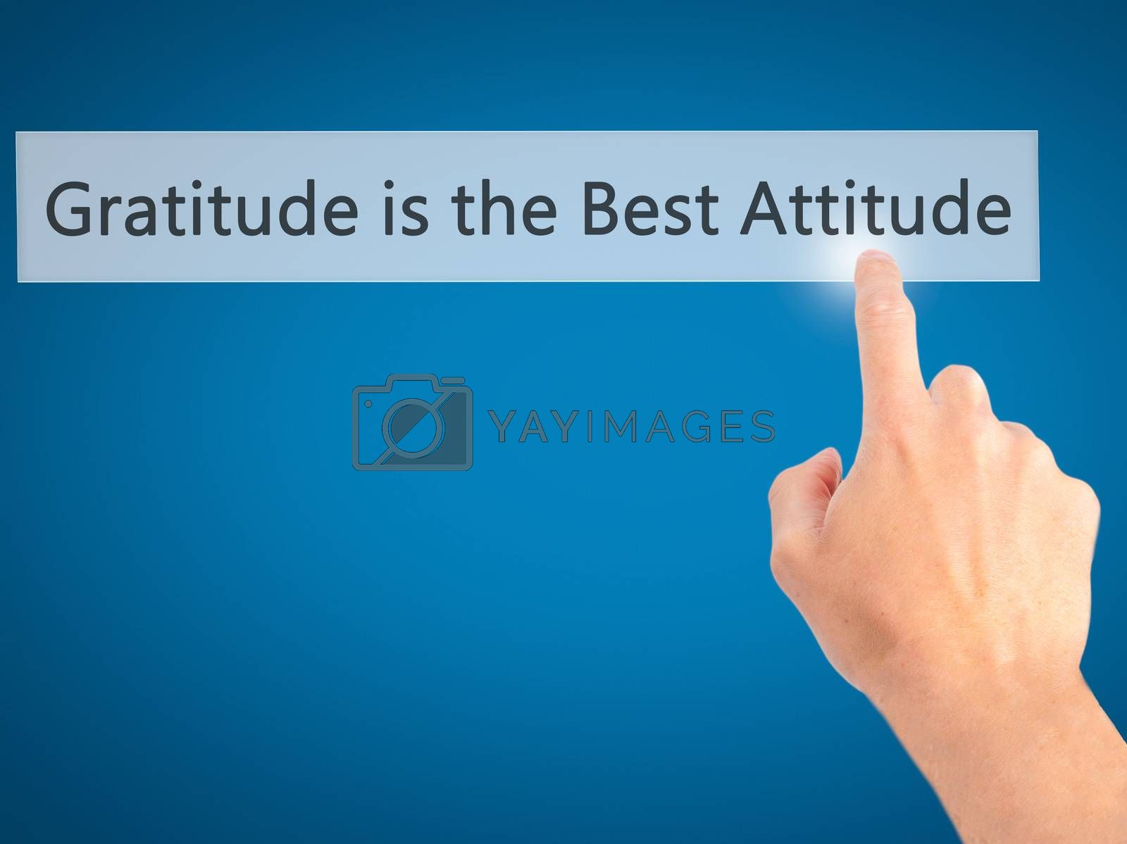Gratitude is the Best Attitude - Hand pressing a button on blurr by jackald